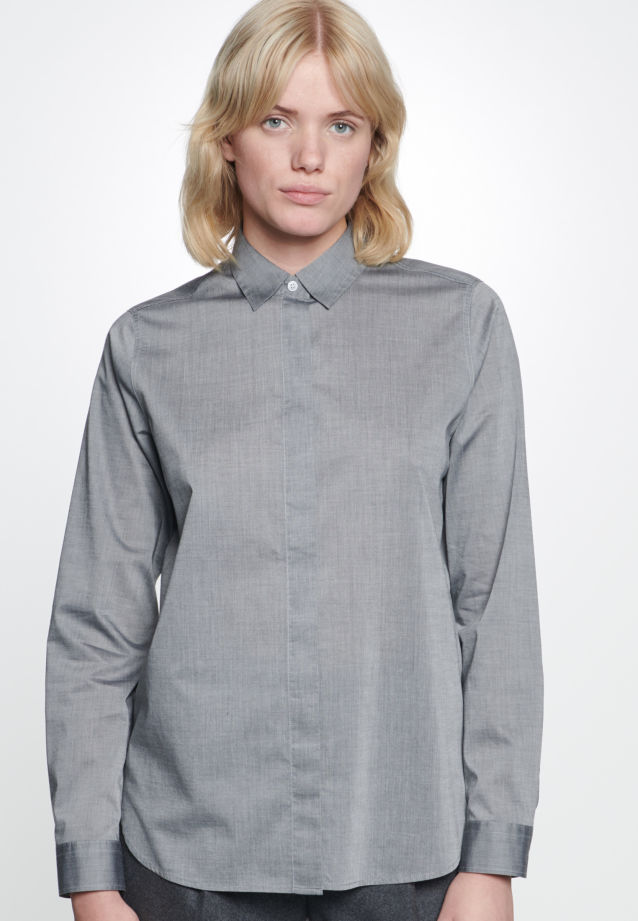 Chambray Shirt Blouse made of 100% Cotton in Grey |  Seidensticker Onlineshop