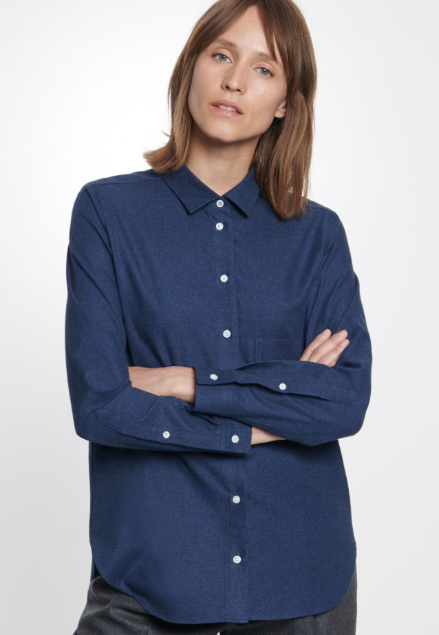 Flannel Shirt Blouse made of 100% Cotton in Dark blue |  Seidensticker Onlineshop