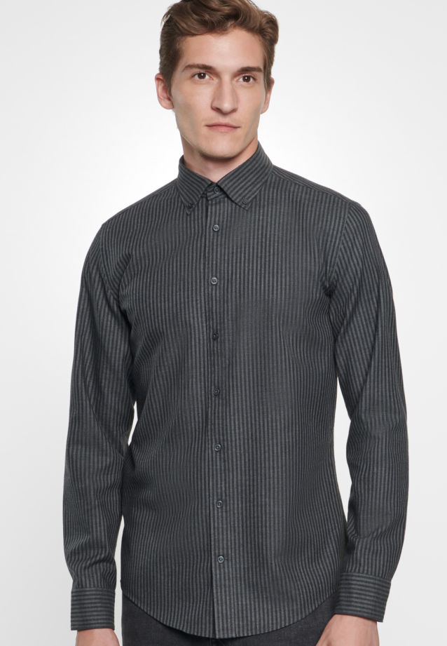Bügelleichtes Twill Business Hemd in Slim mit Button-Down-Kragen in Grau |  Seidensticker Onlineshop
