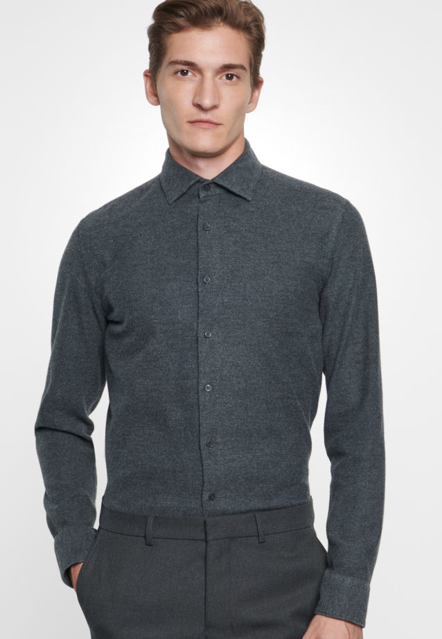 Easy-iron Oxford Business Shirt in Slim with Kent-Collar in Grey |  Seidensticker Onlineshop