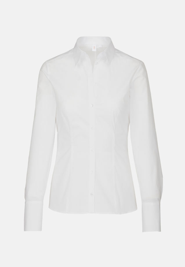 Poplin Shirt Blouse made of 96% Cotton 4% Elastane in weiß |  Seidensticker Onlineshop
