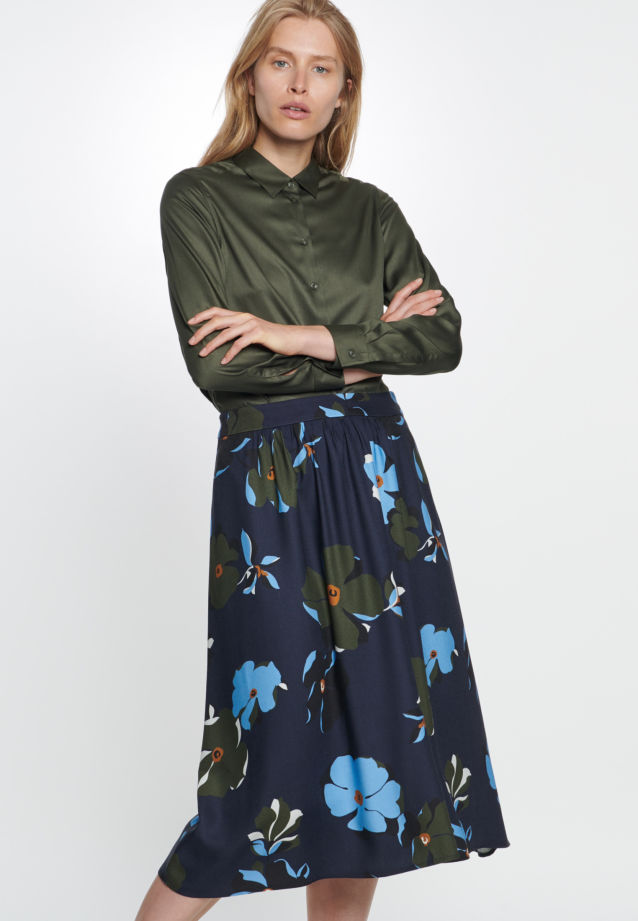 Twill Midi Skirt made of 100% Viscose in Dark blue |  Seidensticker Onlineshop