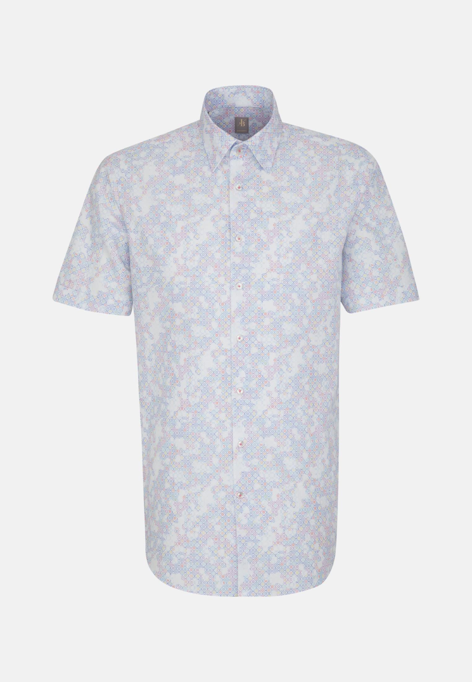 Kurzarm Popeline Business Hemd in Custom Fit mit Under-Button-Down-Kragen in Mittelblau |  Jacques Britt Onlineshop