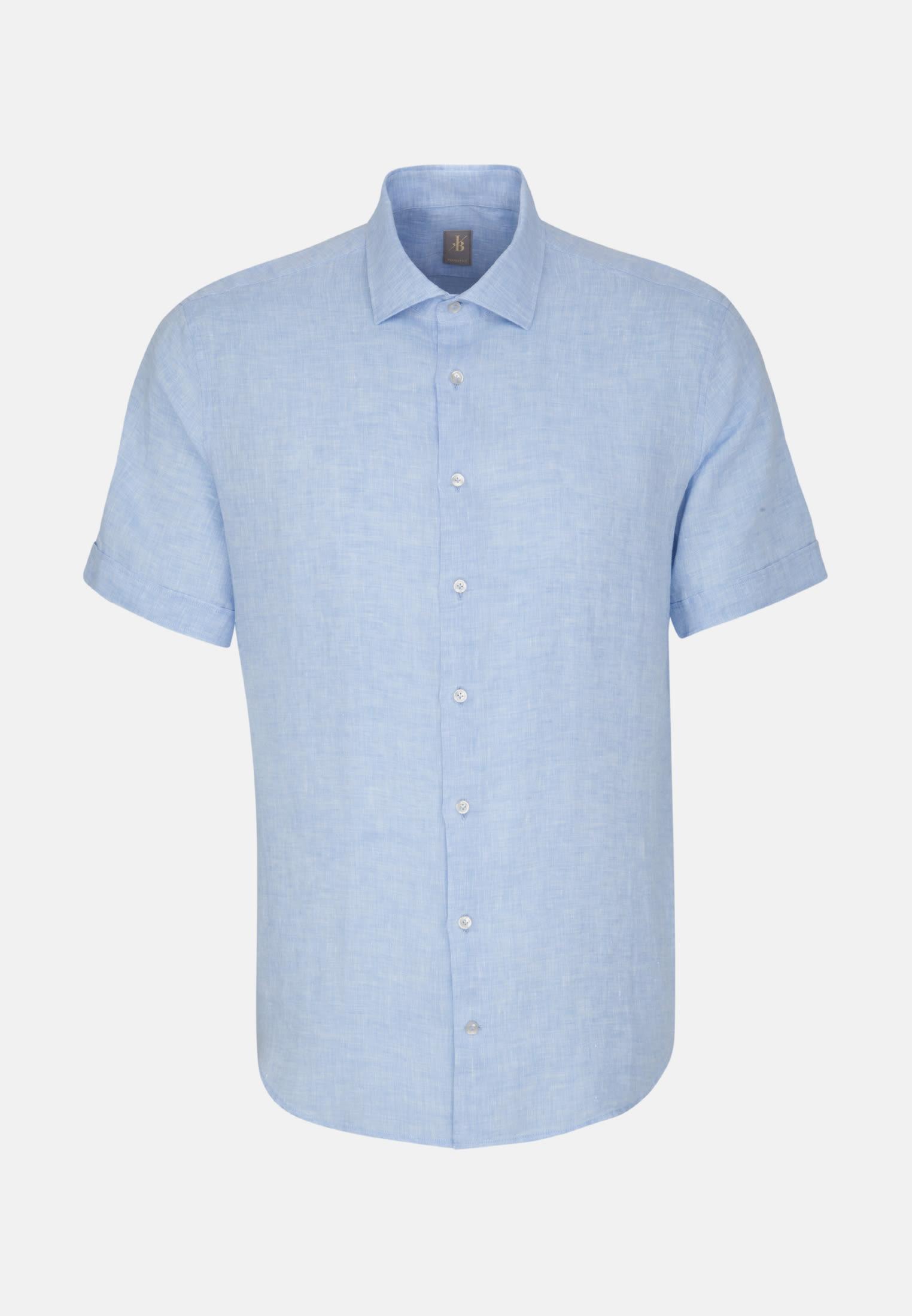 Leinen Smart Casual Hemd in Perfect Fit mit Kentkragen in Hellblau |  Jacques Britt Onlineshop