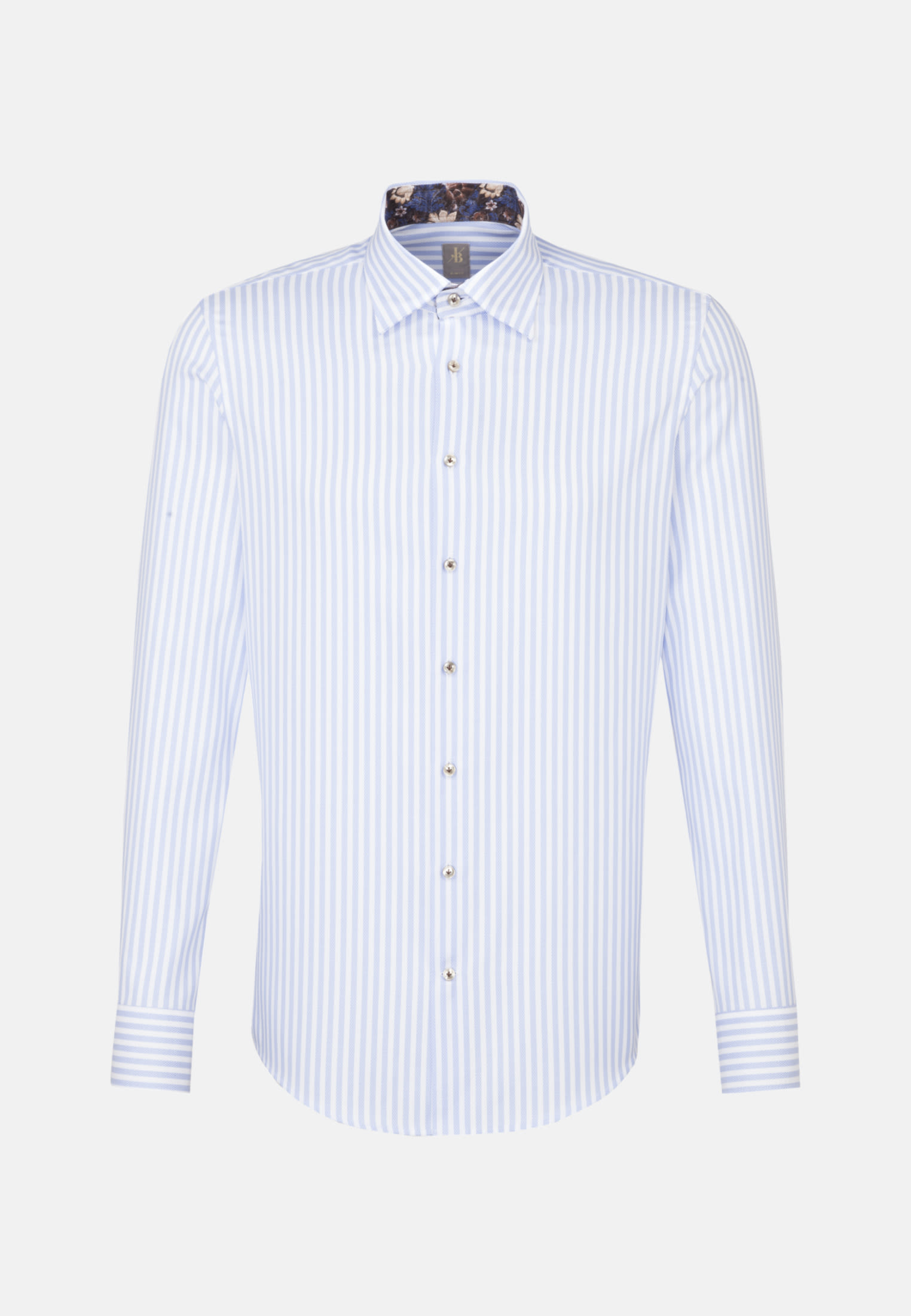 Struktur Business Hemd in Slim Fit mit Under-Button-Down-Kragen in Hellblau |  Jacques Britt Onlineshop