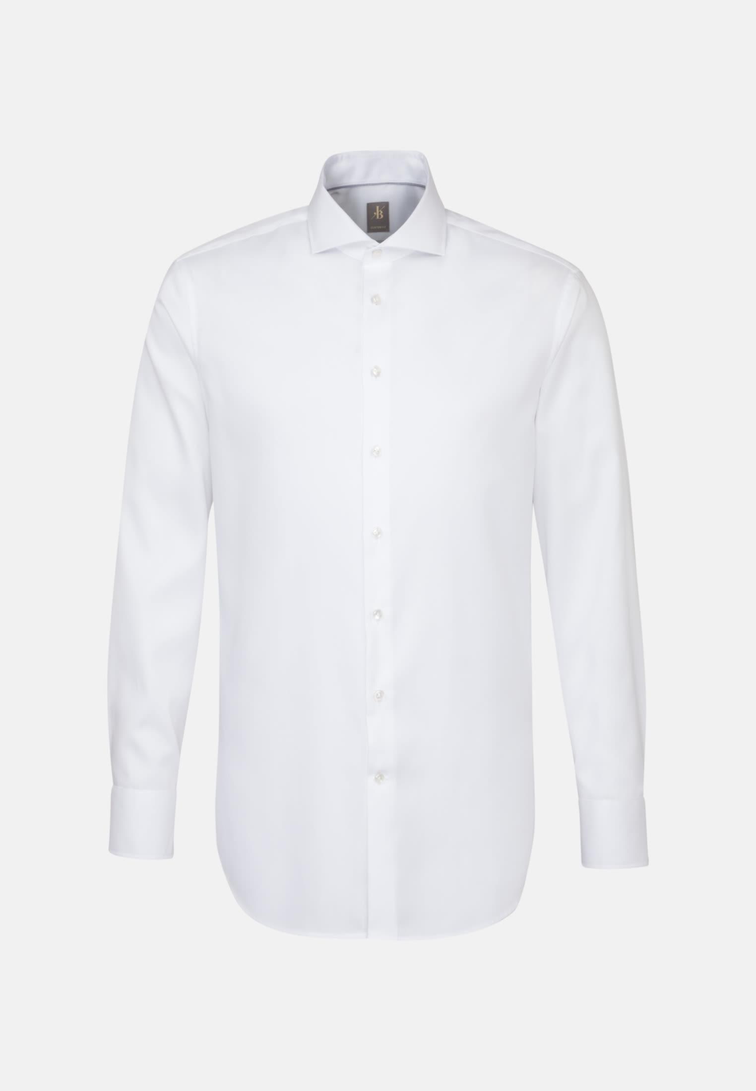 Twill Business Hemd in Custom Fit mit Haifischkragen in Weiß |  Jacques Britt Onlineshop