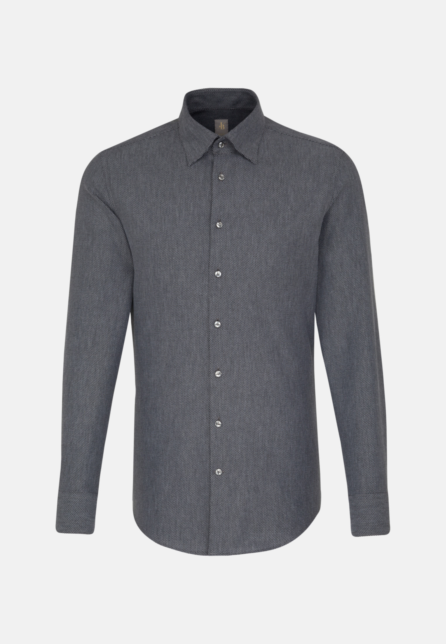 Struktur Business Hemd in Slim Fit mit Under-Button-Down-Kragen in Grau |  Jacques Britt Onlineshop
