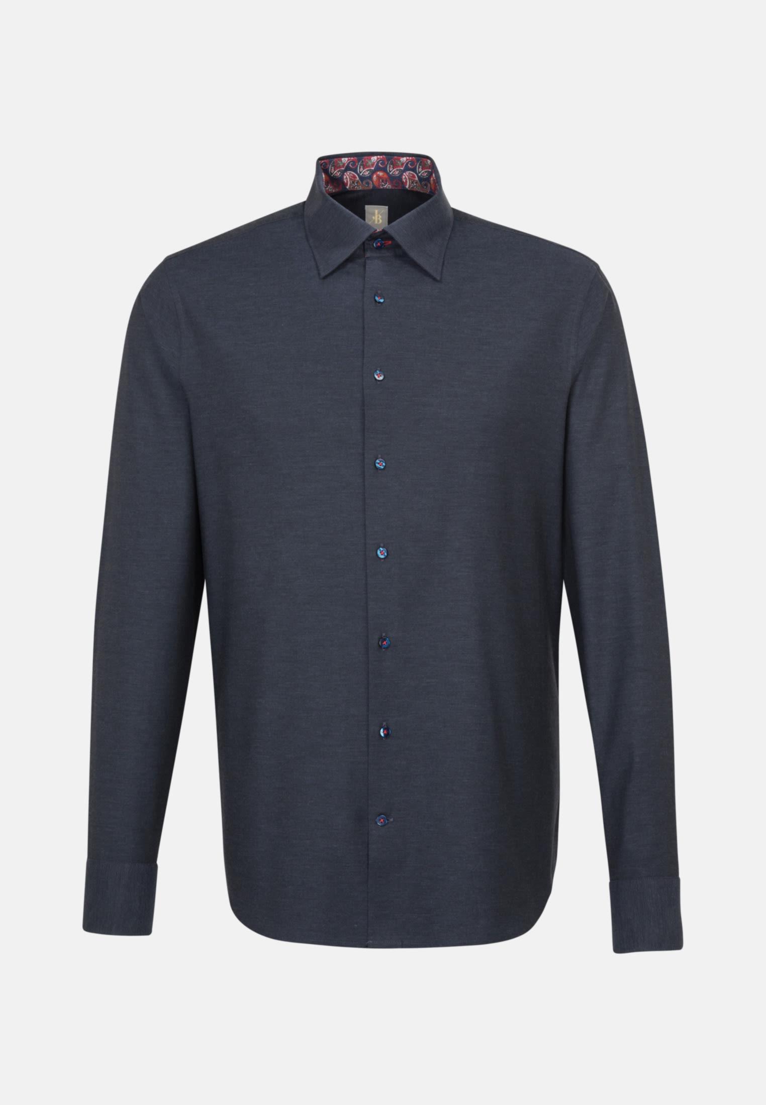 Melange Garne Smart Casual Hemd in Perfect Fit mit Under-Button-Down-Kragen in Dunkelblau |  Jacques Britt Onlineshop