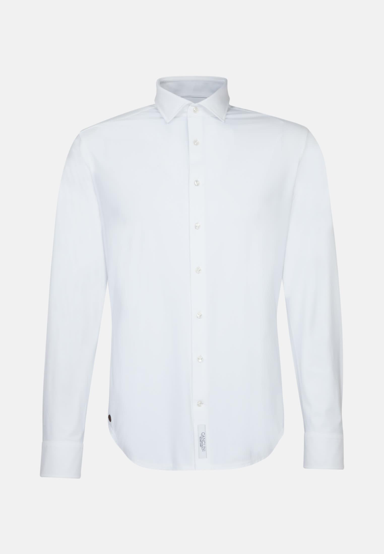 Jersey Smart Casual Hemd in Perfect Fit mit Haifischkragen in Weiß |  Jacques Britt Onlineshop