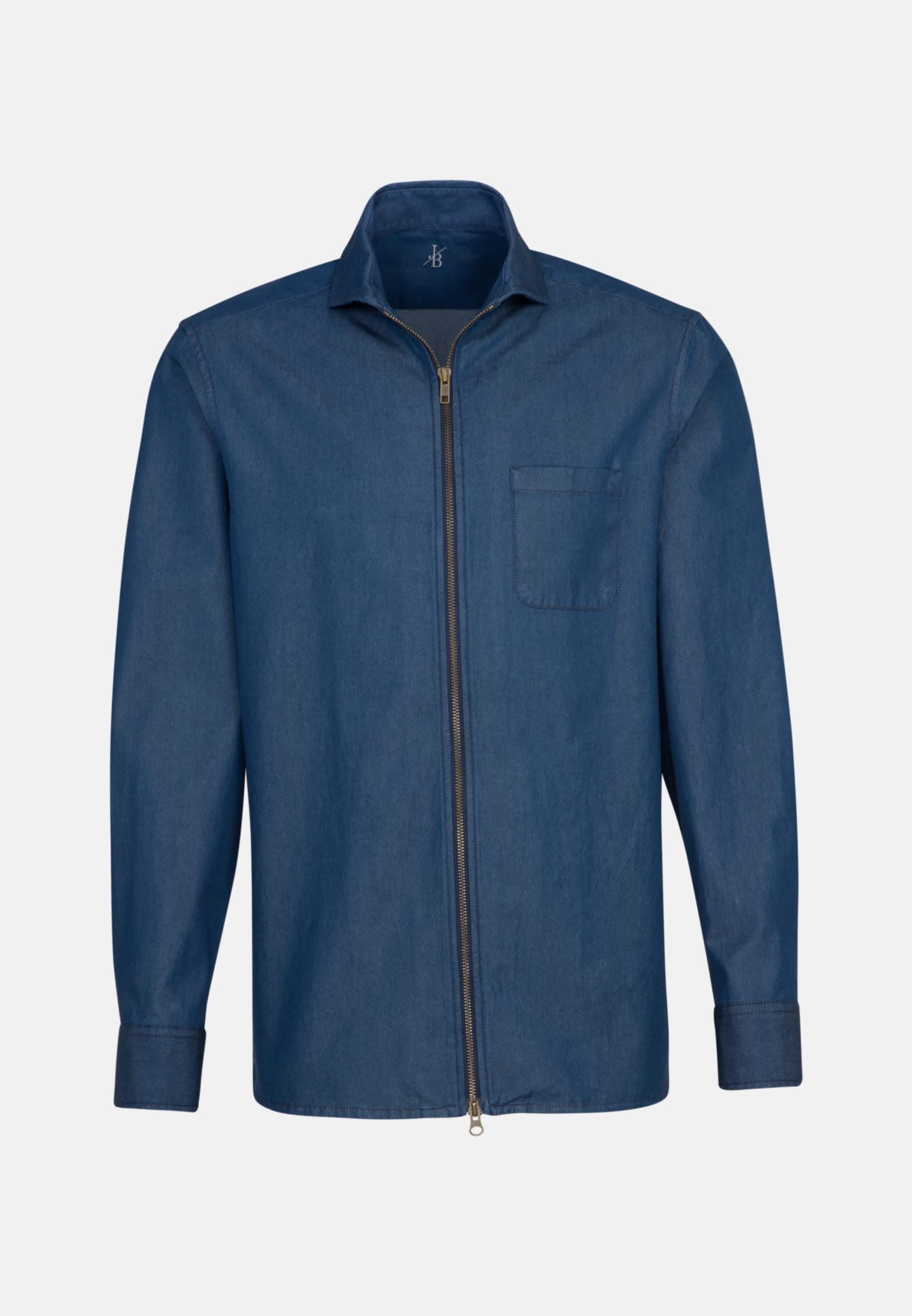 Denim Smart Casual Hemd in Perfect Fit mit Haifischkragen in Dunkelblau    Jacques Britt Onlineshop