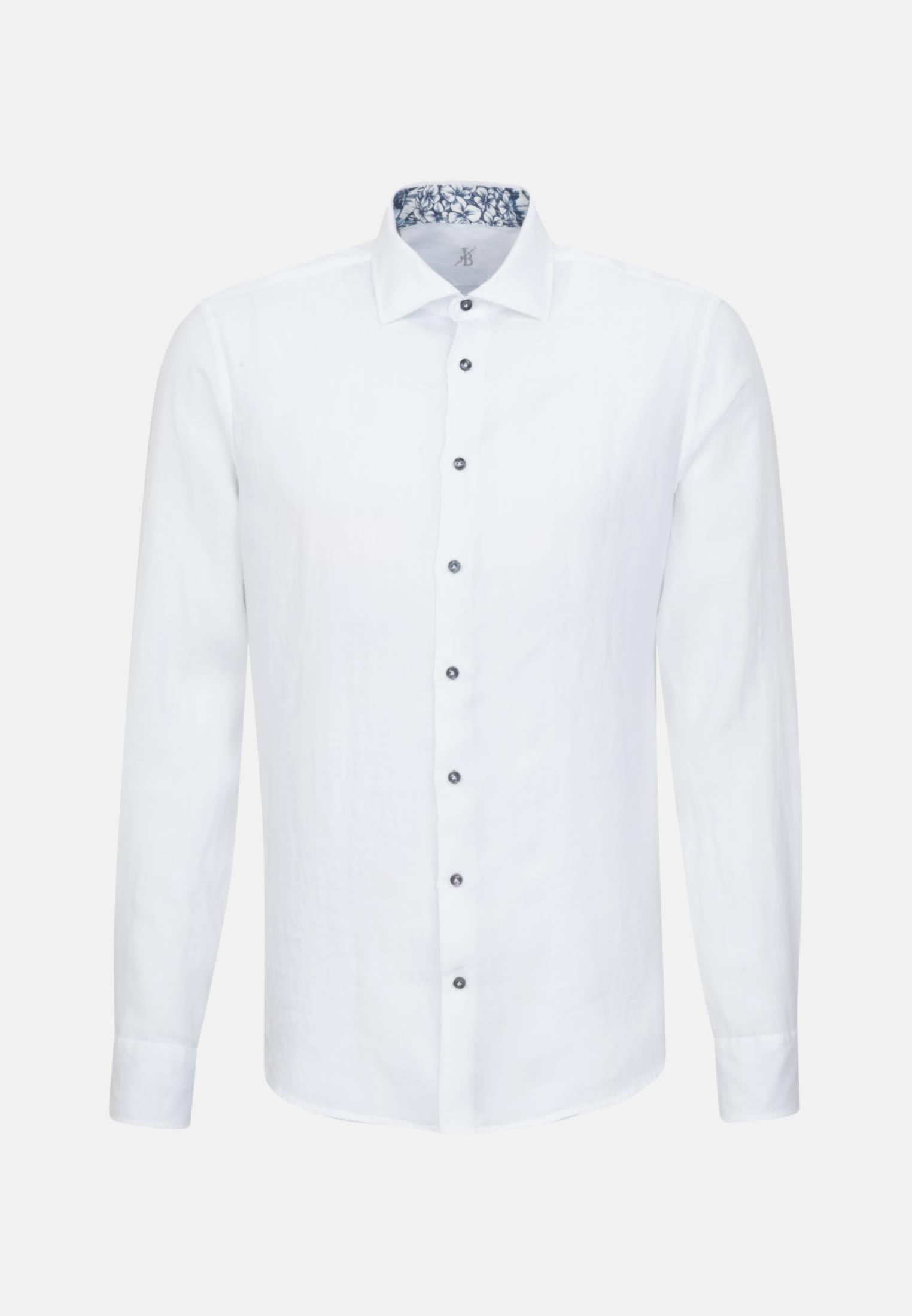 Leinen Smart Casual Hemd in Perfect Fit mit Kentkragen in Weiß |  Jacques Britt Onlineshop