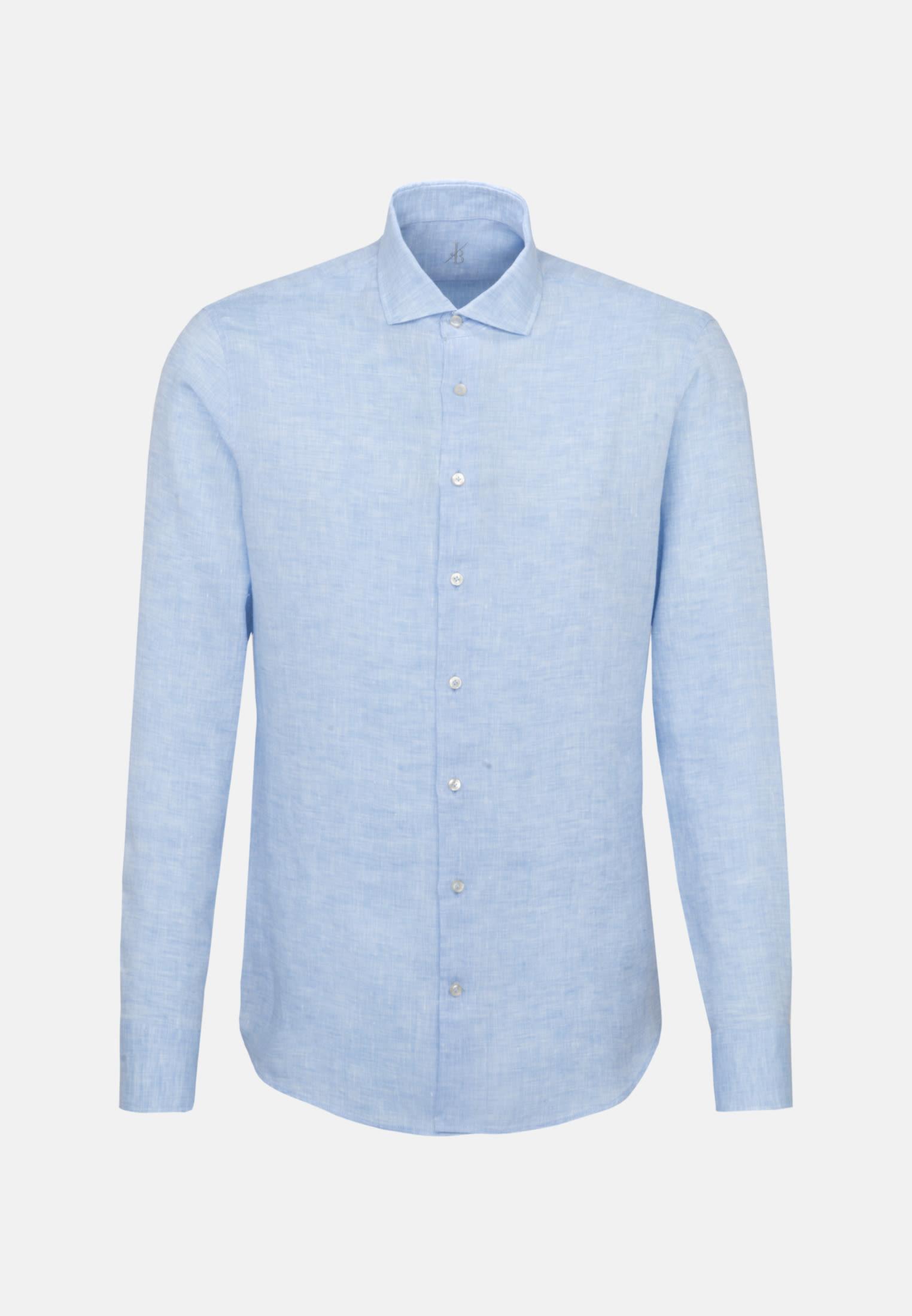 Leinen Smart Casual Hemd in Perfect Fit mit Haifischkragen in Hellblau |  Jacques Britt Onlineshop