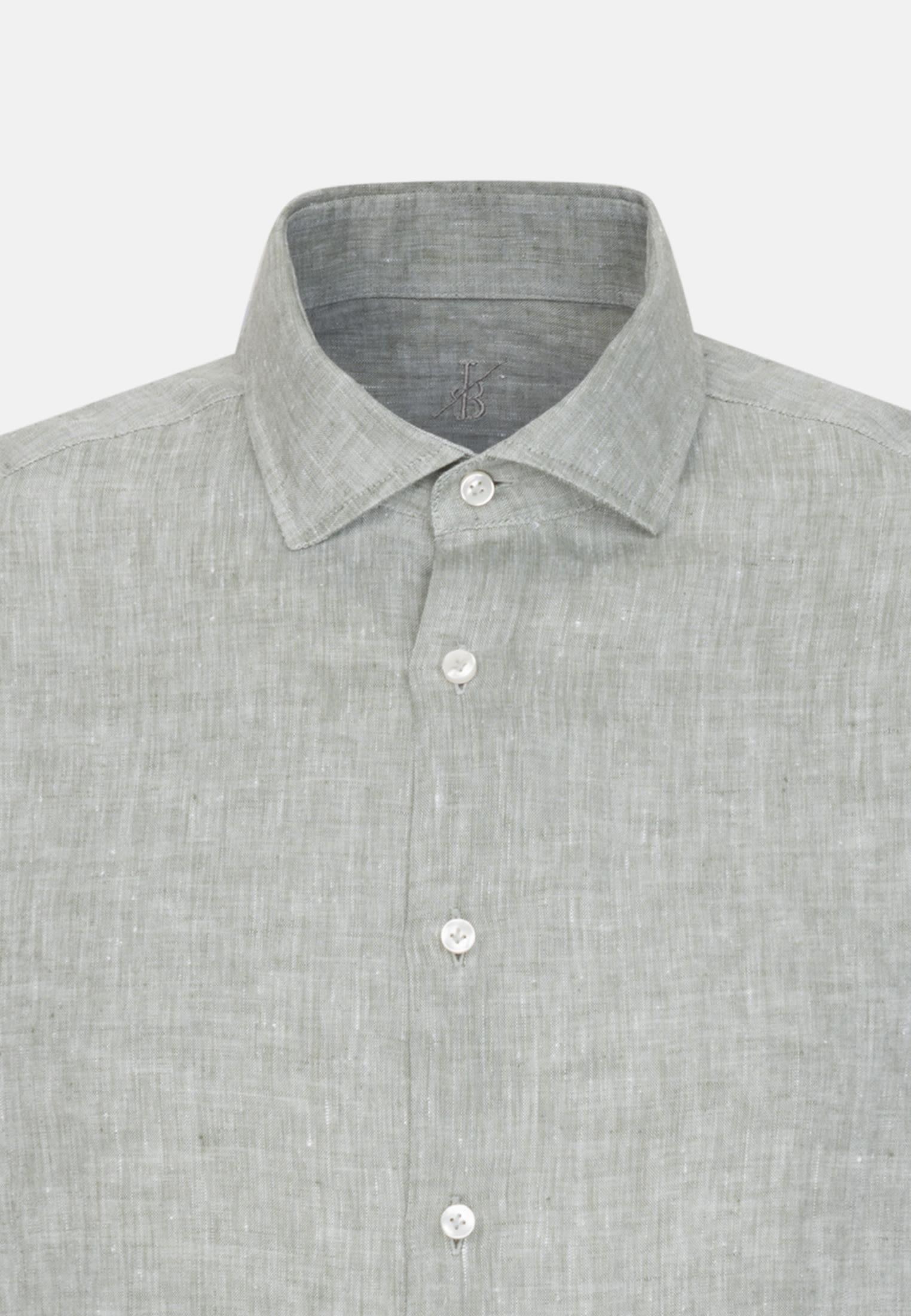 Leinen Smart Casual Hemd in Perfect Fit mit Haifischkragen in Grün |  Jacques Britt Onlineshop