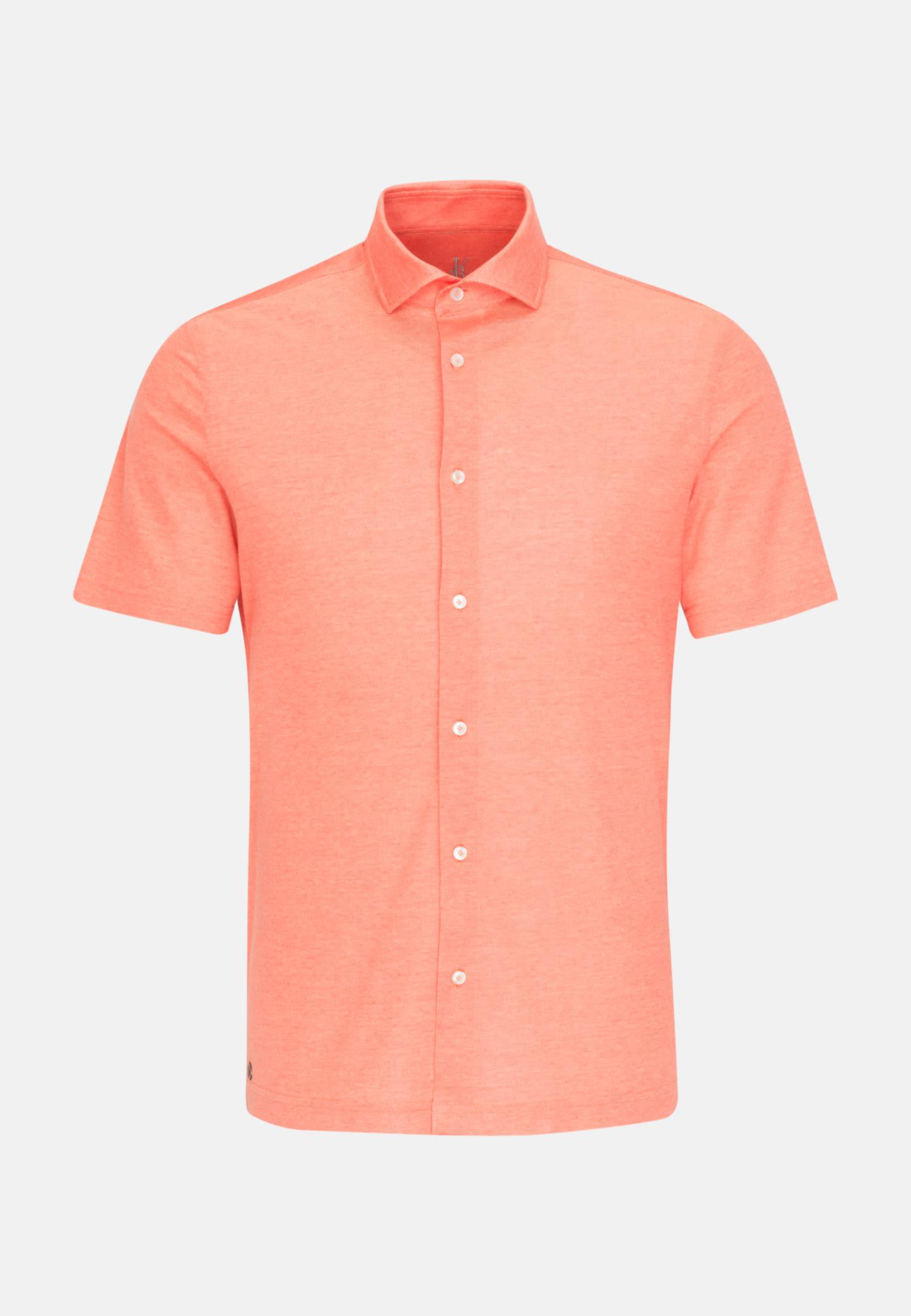 Kurzarm Jersey Smart Casual Hemd in Perfect Fit mit Haifischkragen in Orange |  Jacques Britt Onlineshop