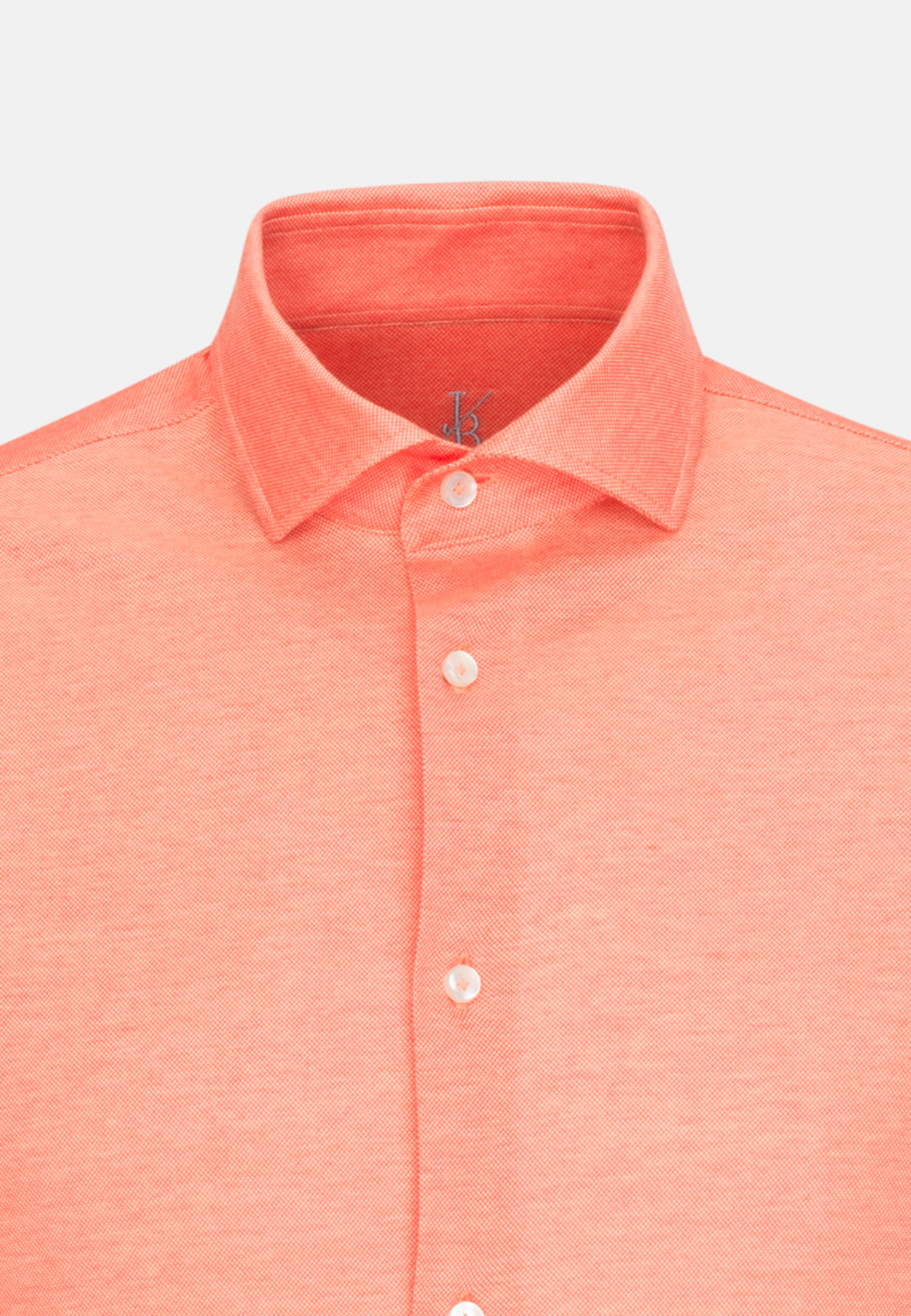 Kurzarm Jersey Smart Casual Hemd in Perfect Fit mit Haifischkragen in Orange |  Jacques Britt Onlineshop