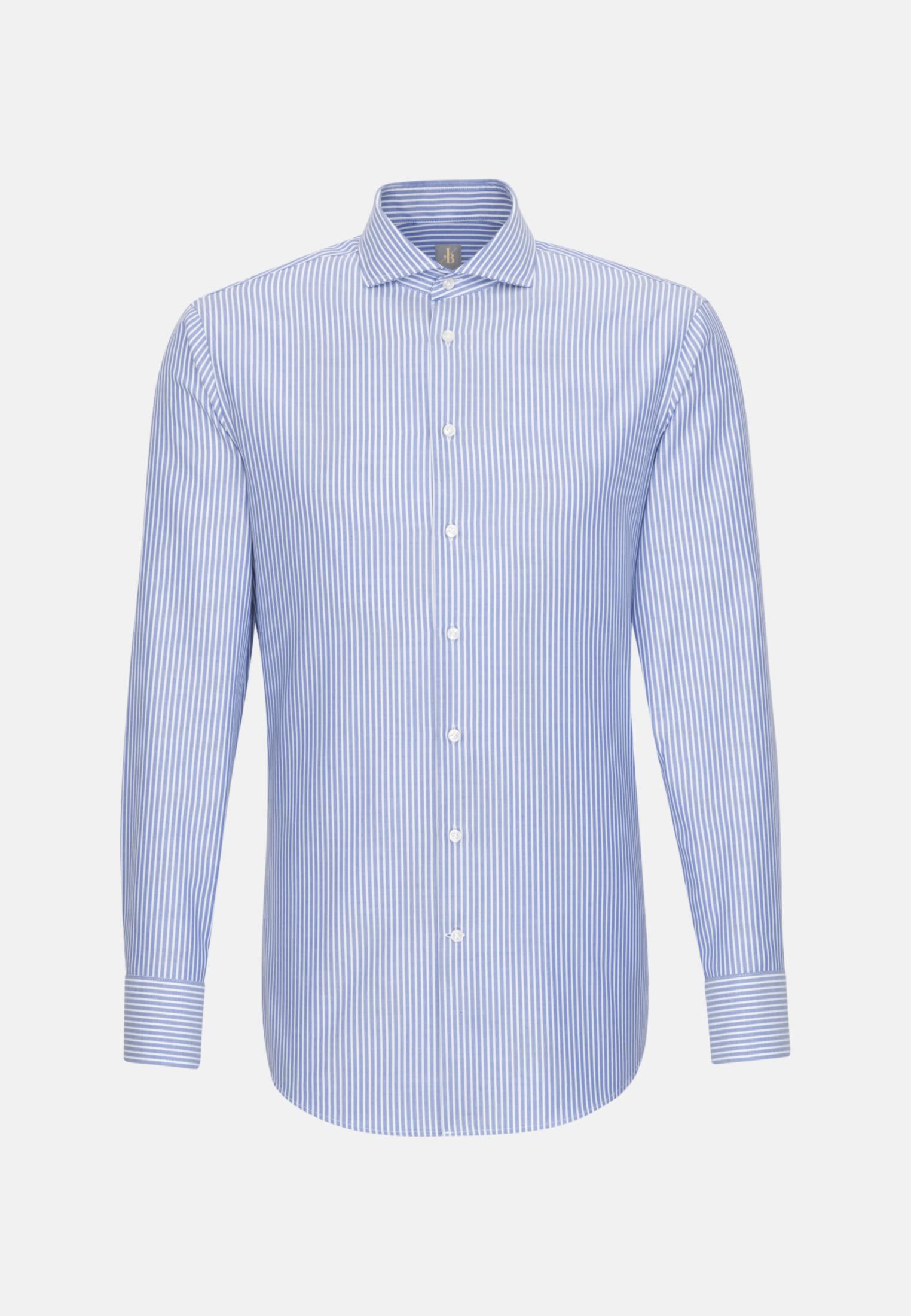 Dobby Business Hemd in Slim Fit mit Haifischkragen in Mittelblau |  Jacques Britt Onlineshop