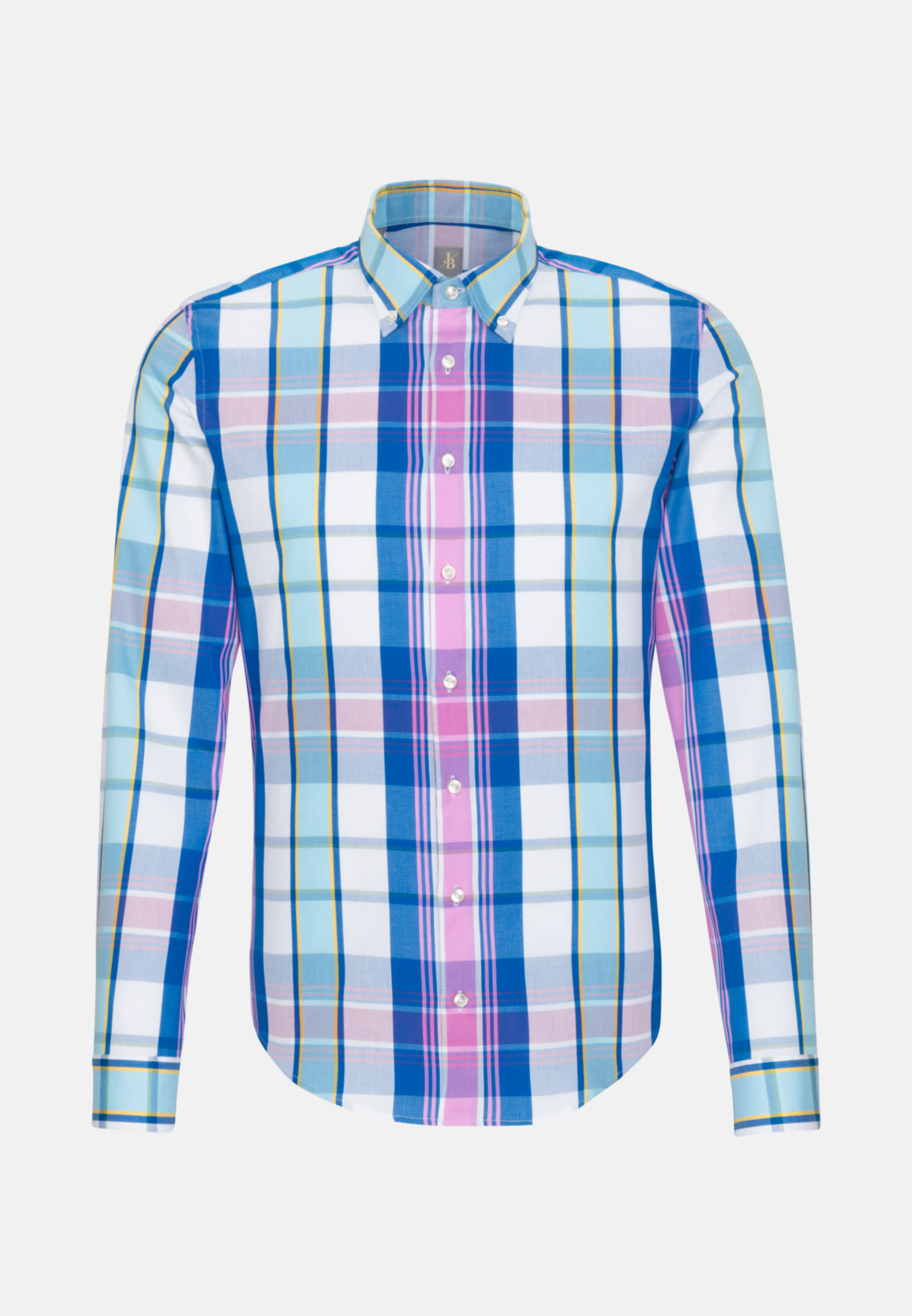 Struktur Smart Casual Hemd in Slim Fit mit Button-Down-Kragen in Mittelblau |  Jacques Britt Onlineshop