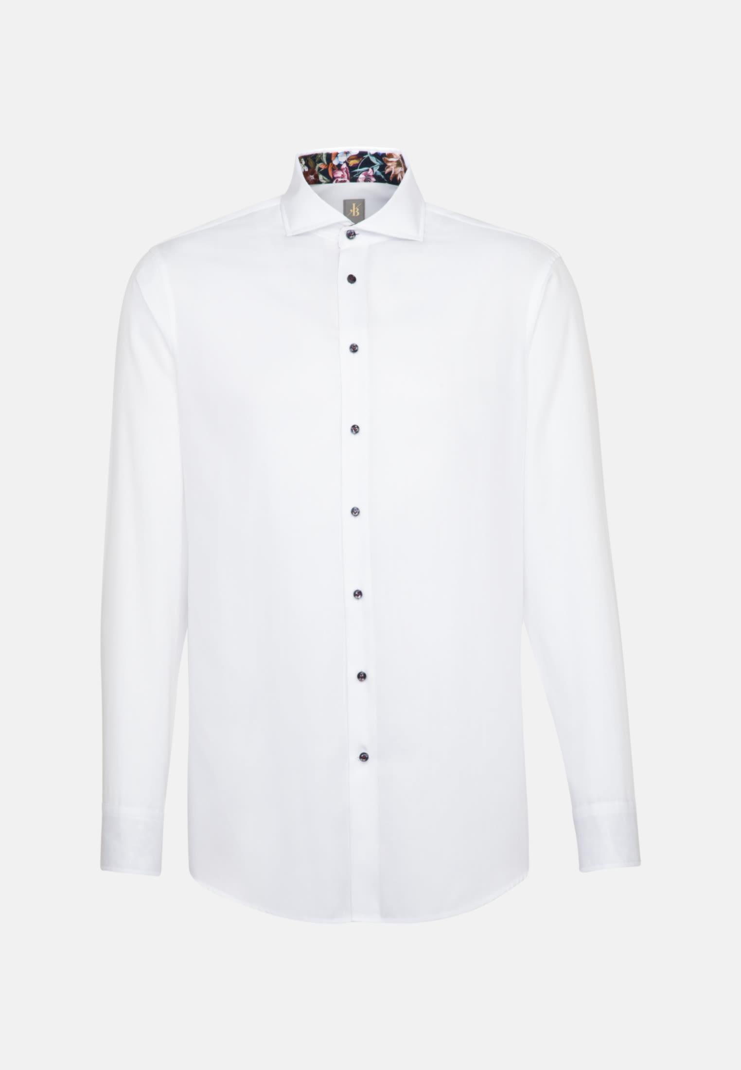 Fischgrat Business Hemd in Custom Fit mit Haifischkragen in Weiß |  Jacques Britt Onlineshop