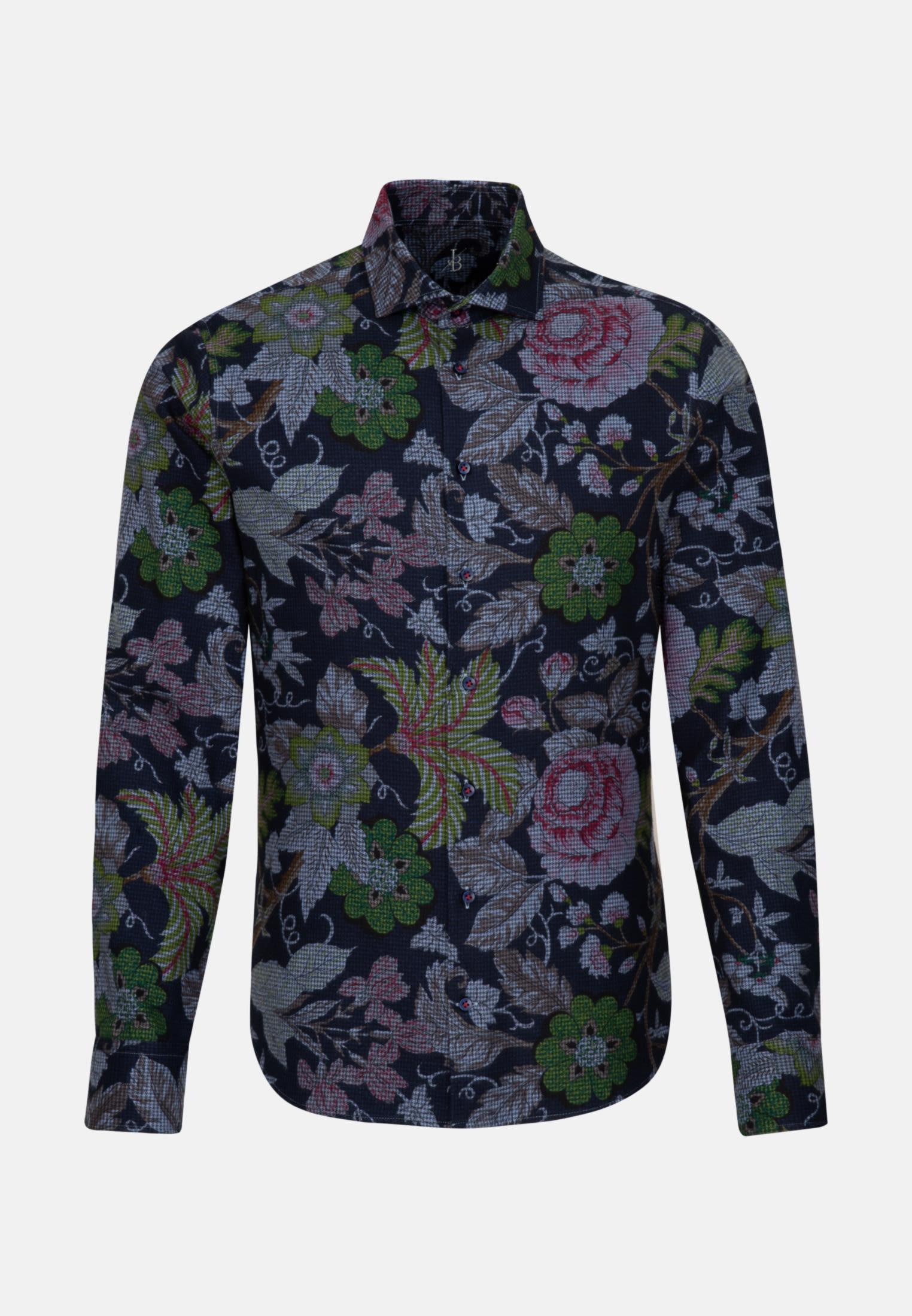 Flanell Smart Casual Hemd in Perfect Fit mit Haifischkragen in Mittelblau    Jacques Britt Onlineshop
