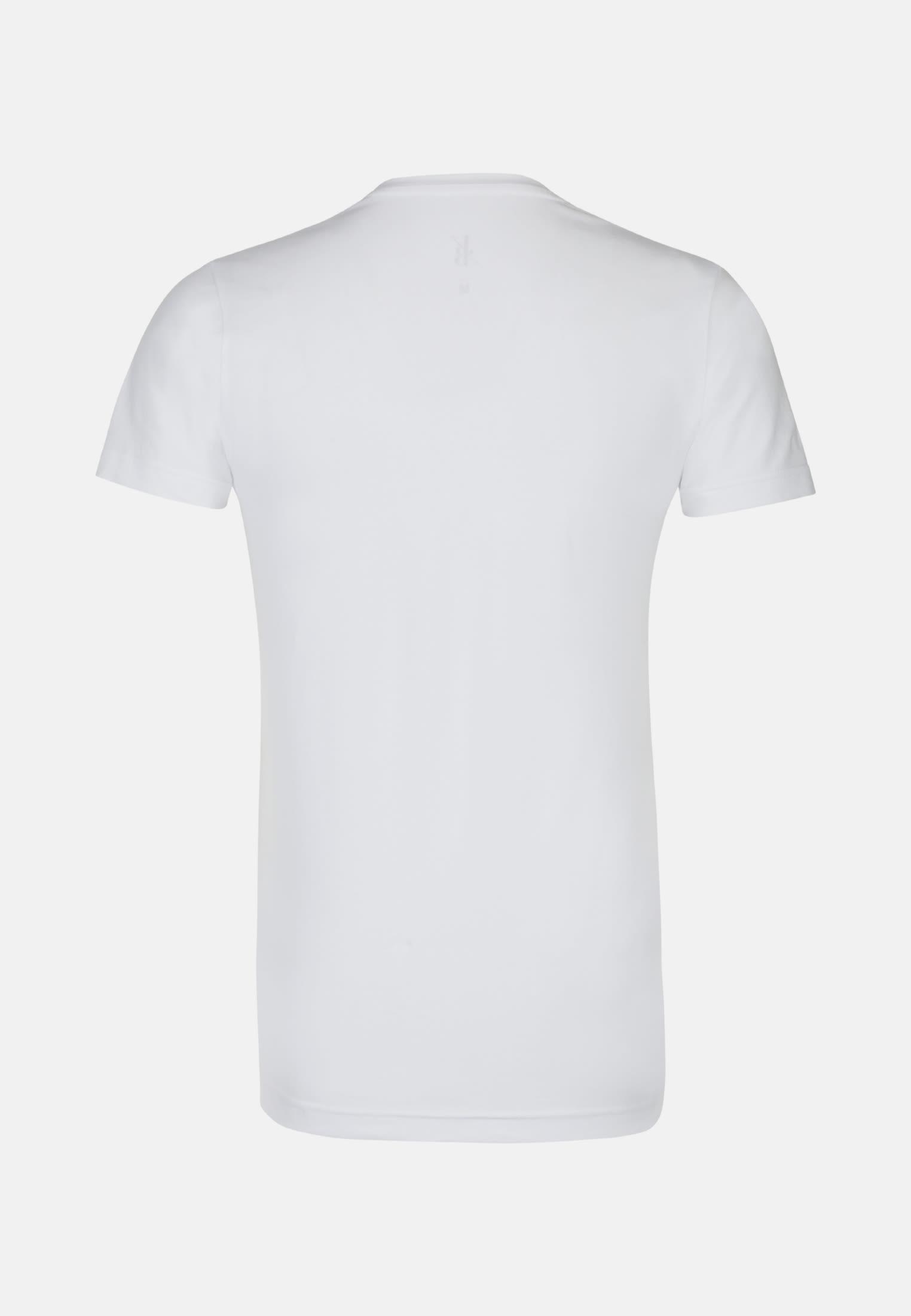Rundhals T-Shirt aus Baumwollmischung in Weiß |  Jacques Britt Onlineshop