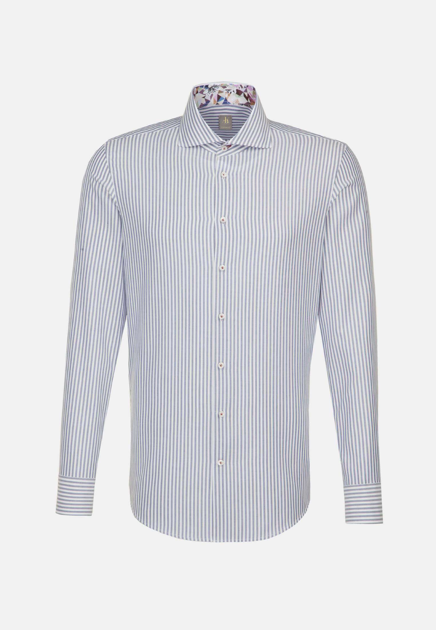Twill Business Hemd in Custom Fit mit Haifischkragen in Mittelblau |  Jacques Britt Onlineshop
