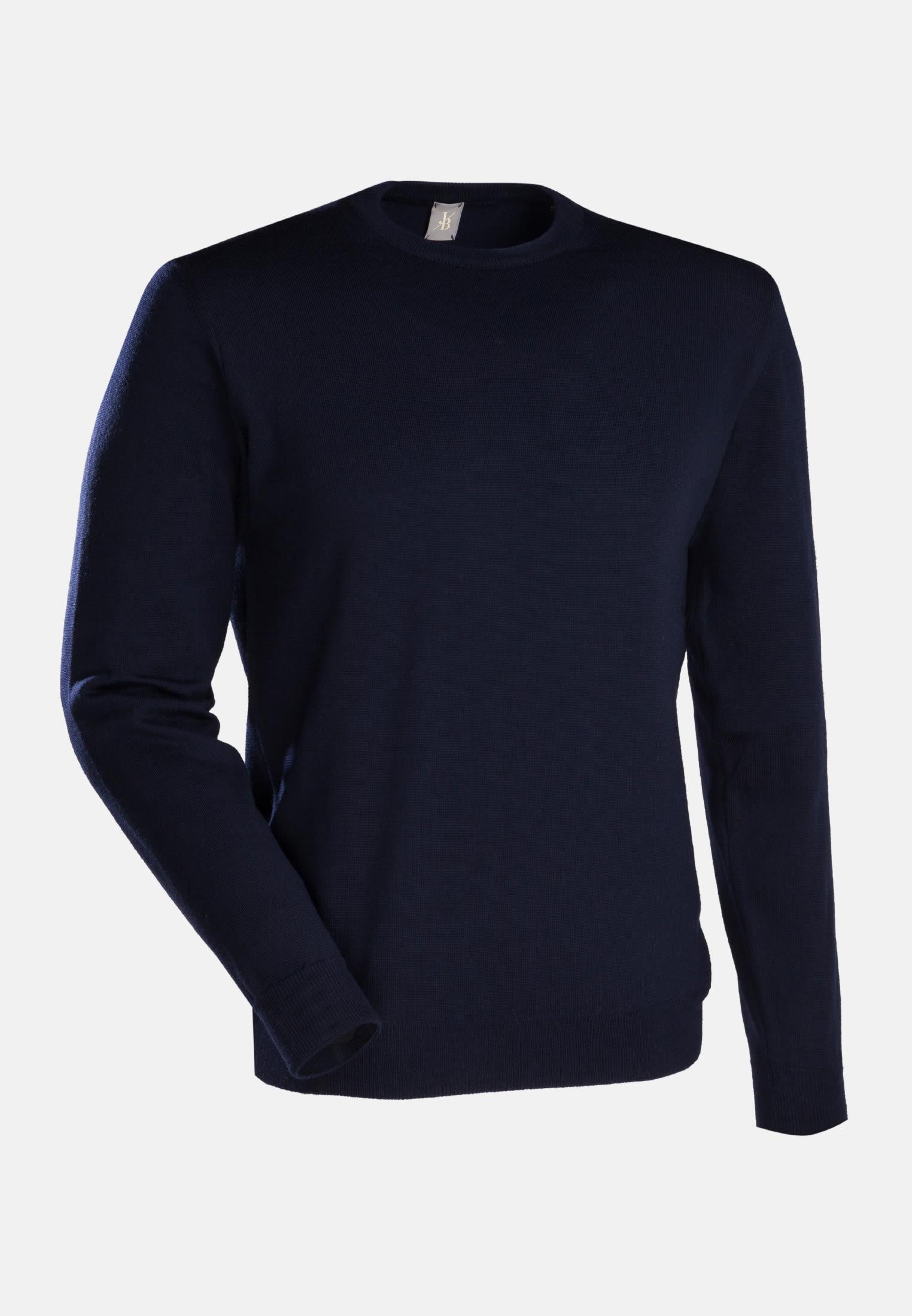 Rundhals Pullover aus 100% Merino-Wolle in Dunkelblau |  Jacques Britt Onlineshop