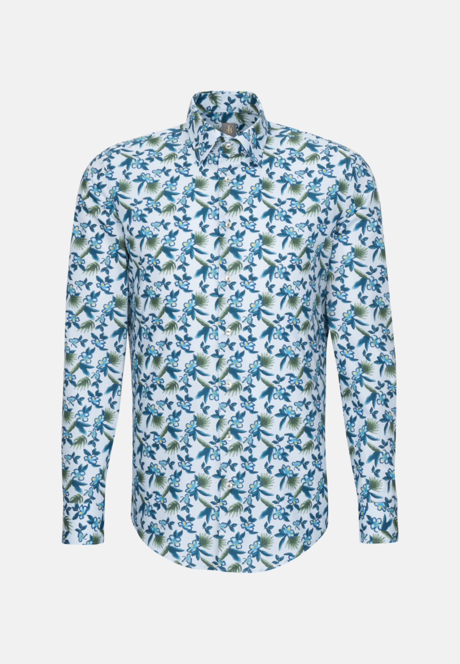 Popeline Business Hemd in Slim Fit mit Under-Button-Down-Kragen in Mittelblau |  Jacques Britt Onlineshop