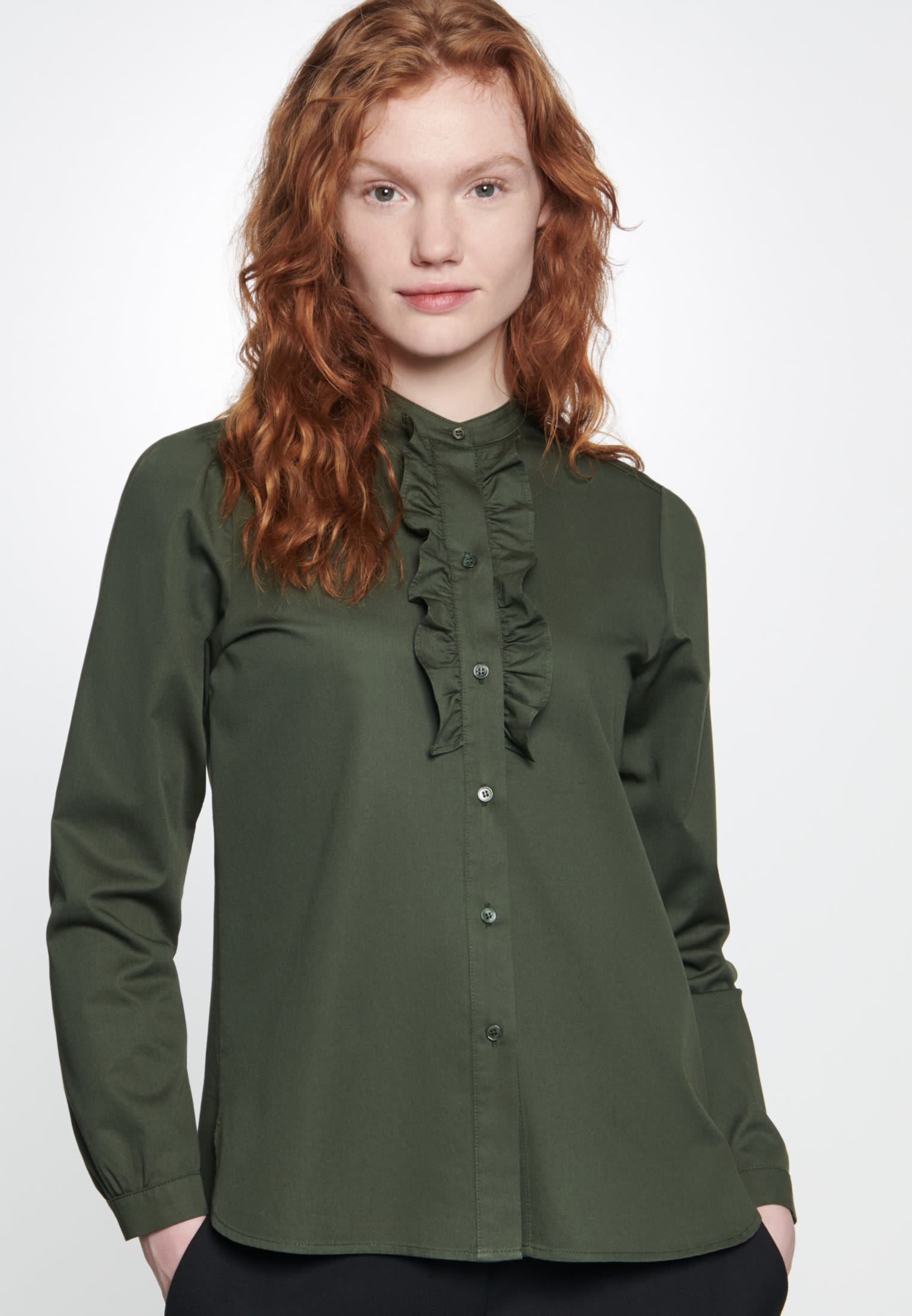 Twill Stand-Up Blouse made of 100% Cotton in Green |  Seidensticker Onlineshop