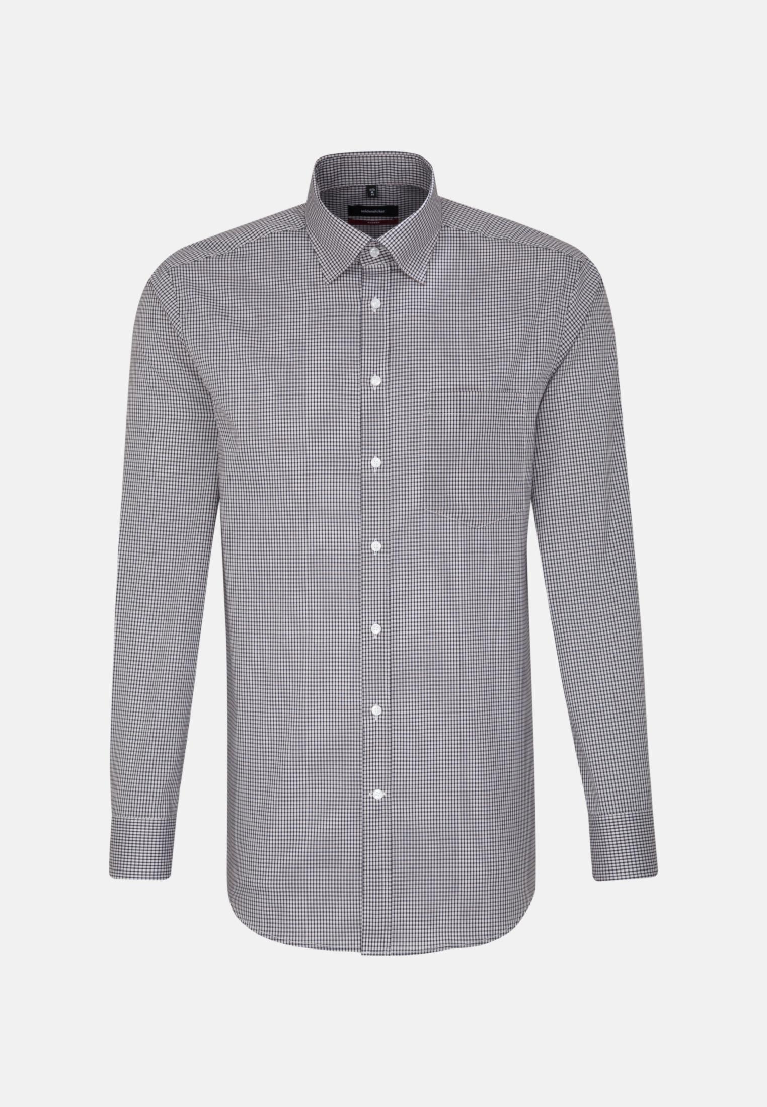 Non-iron Poplin Business Shirt in Regular with Covered-Button-Down-Collar in Dark blue |  Seidensticker Onlineshop