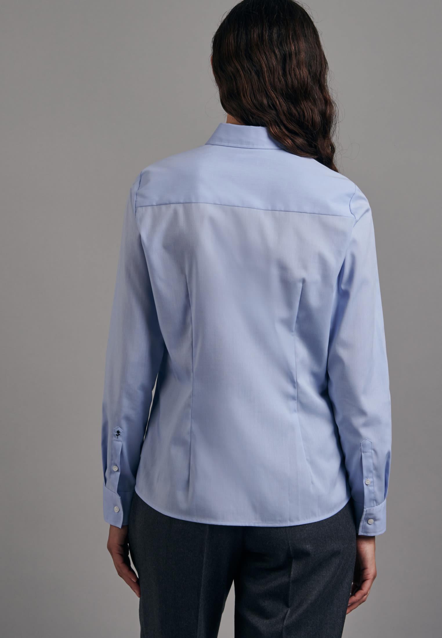 Non-iron Fil a fil Shirt Blouse made of 100% Cotton in Light blue    Seidensticker Onlineshop