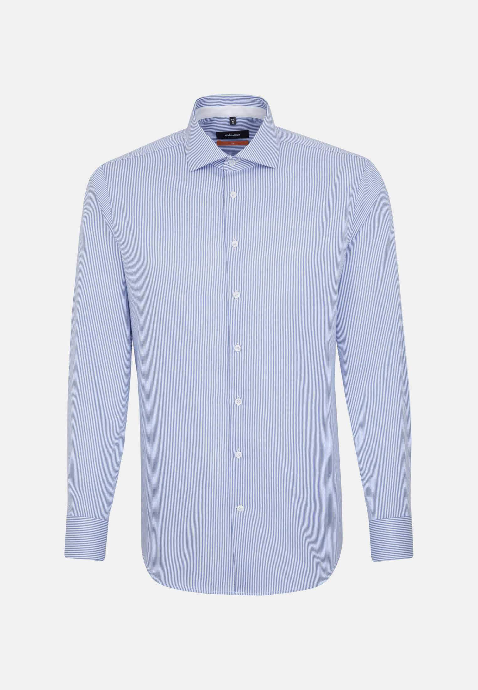 Non-iron Twill Business Shirt in Slim with Kent-Collar and extra long arm in blau |  Seidensticker Onlineshop