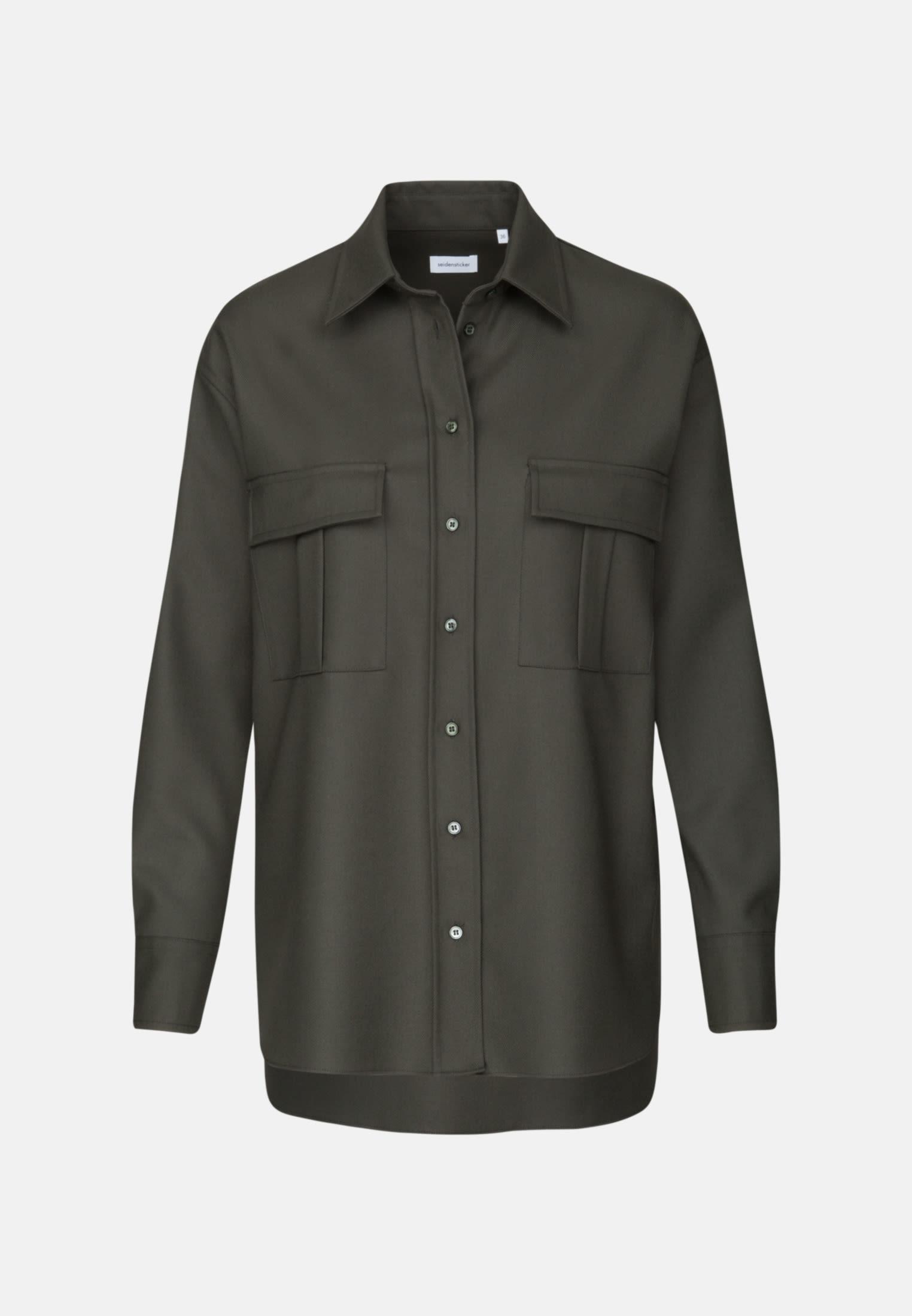Twill Hemdbluse aus 69% Polyester 30% Viskose 1% Elastan in Grün |  Seidensticker Onlineshop