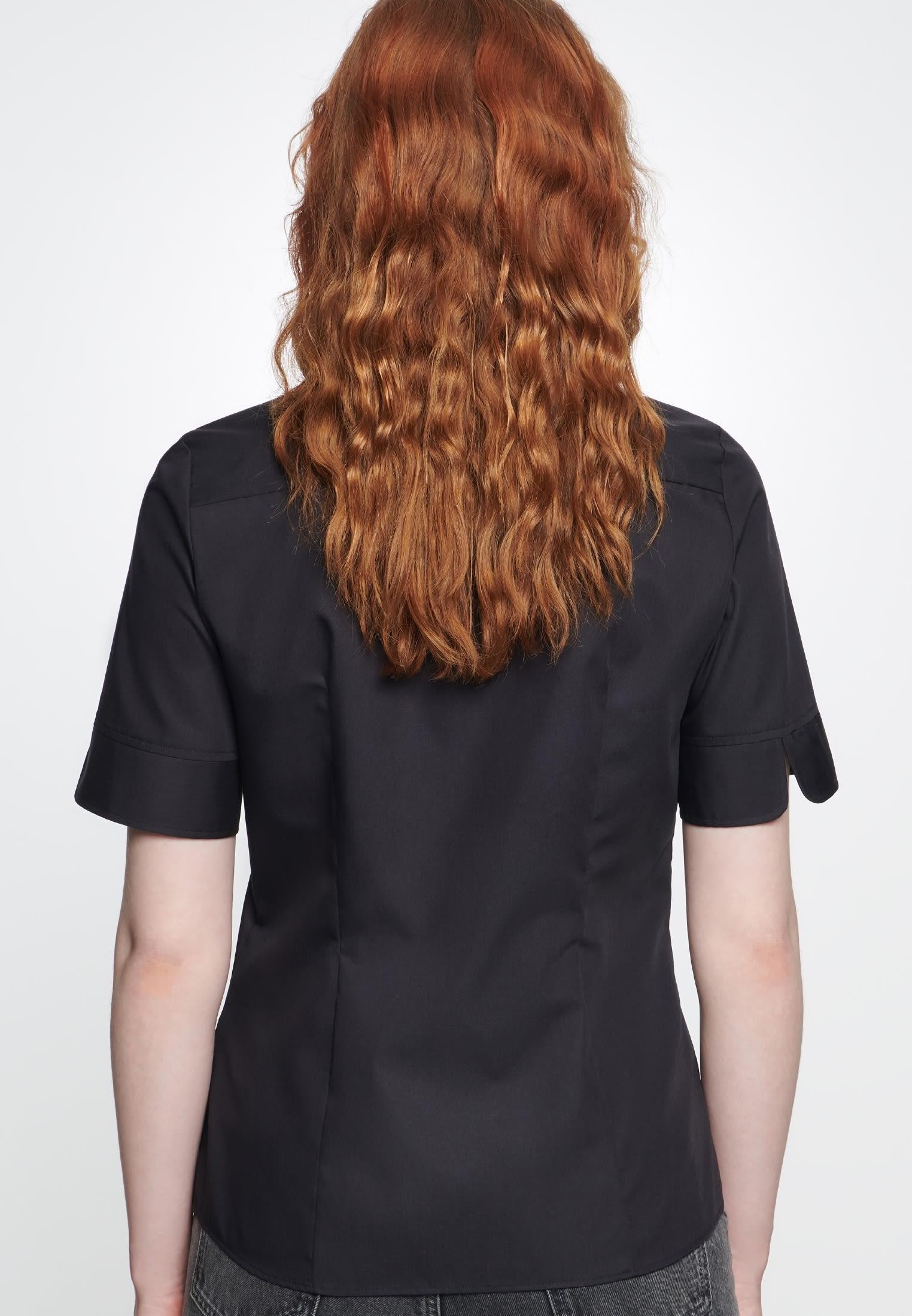 Non-iron Short sleeve Fil a fil Shirt Blouse made of 100% Cotton in Black |  Seidensticker Onlineshop