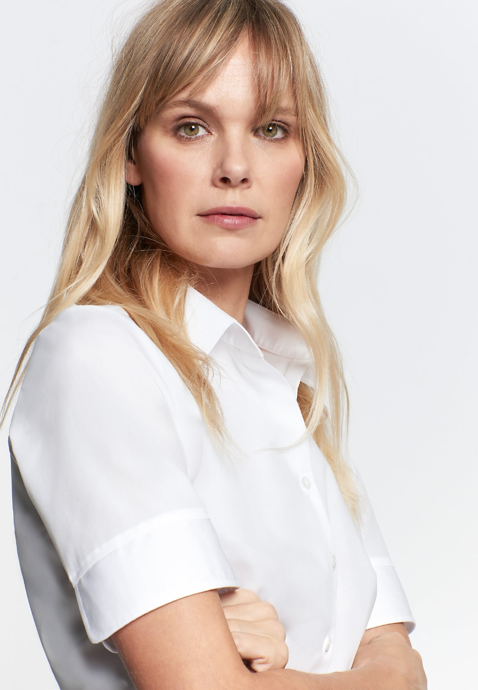Bügelfreie Kurzarm Fil a fil Hemdbluse aus 100% Baumwolle in Weiß    Seidensticker Onlineshop