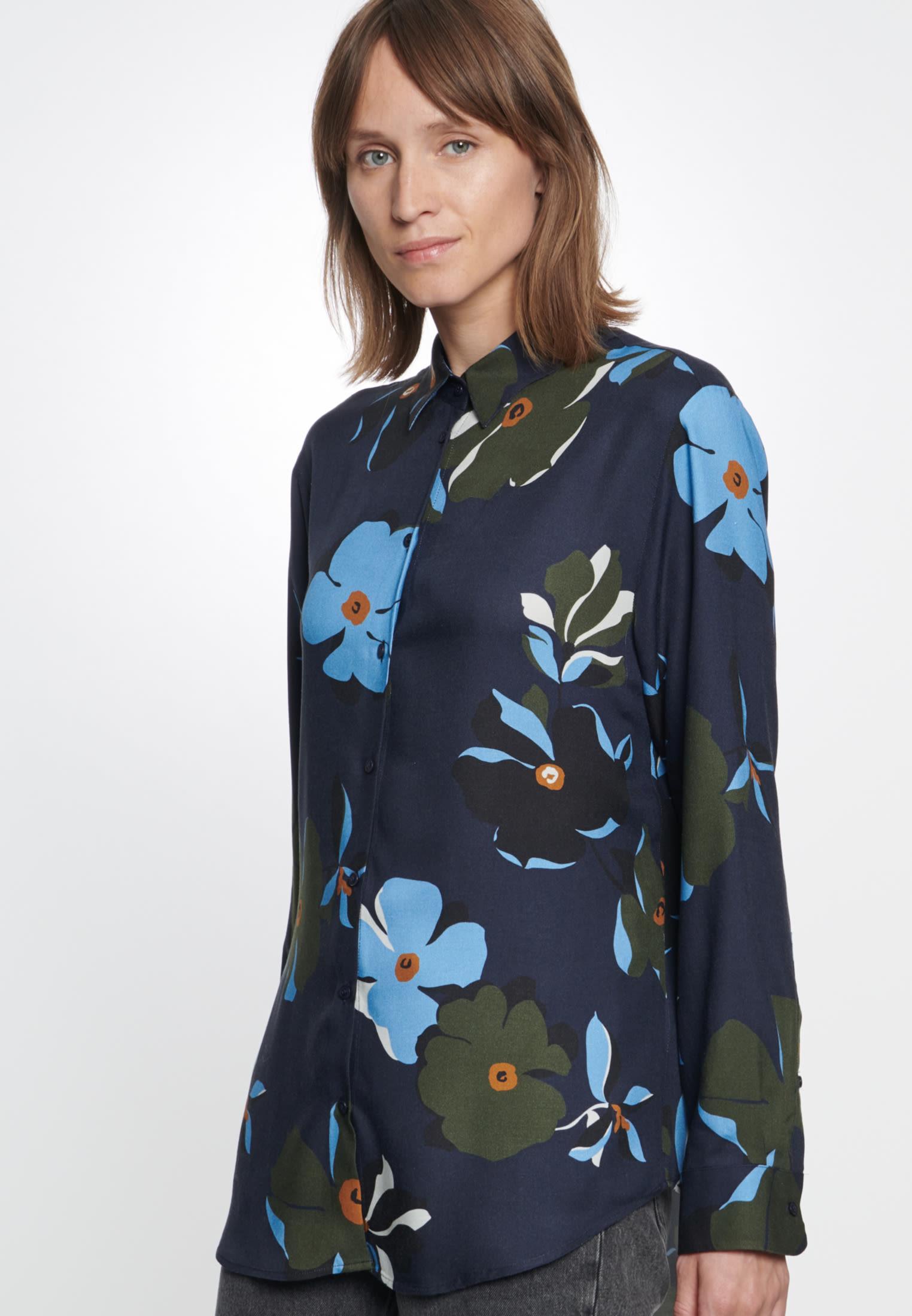 Twill Shirt Blouse made of 100% Viskose in blau |  Seidensticker Onlineshop