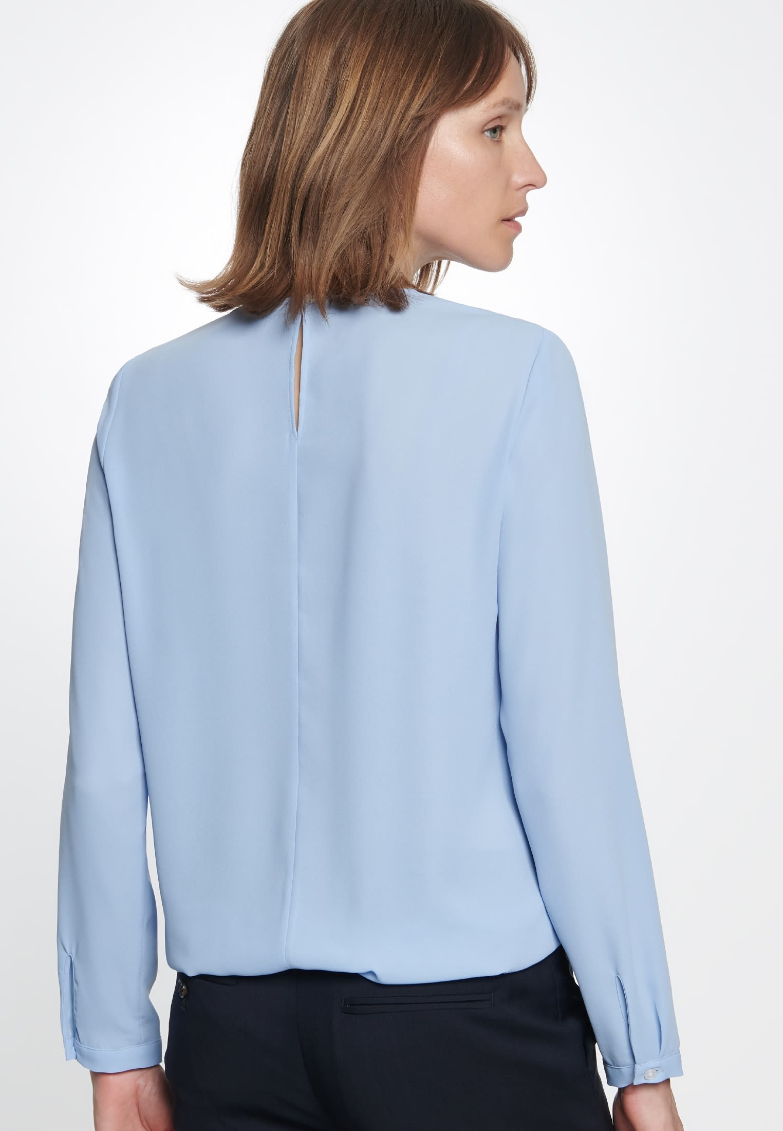 Crepe Shirt Blouse made of 100% Polyester in Light blue |  Seidensticker Onlineshop