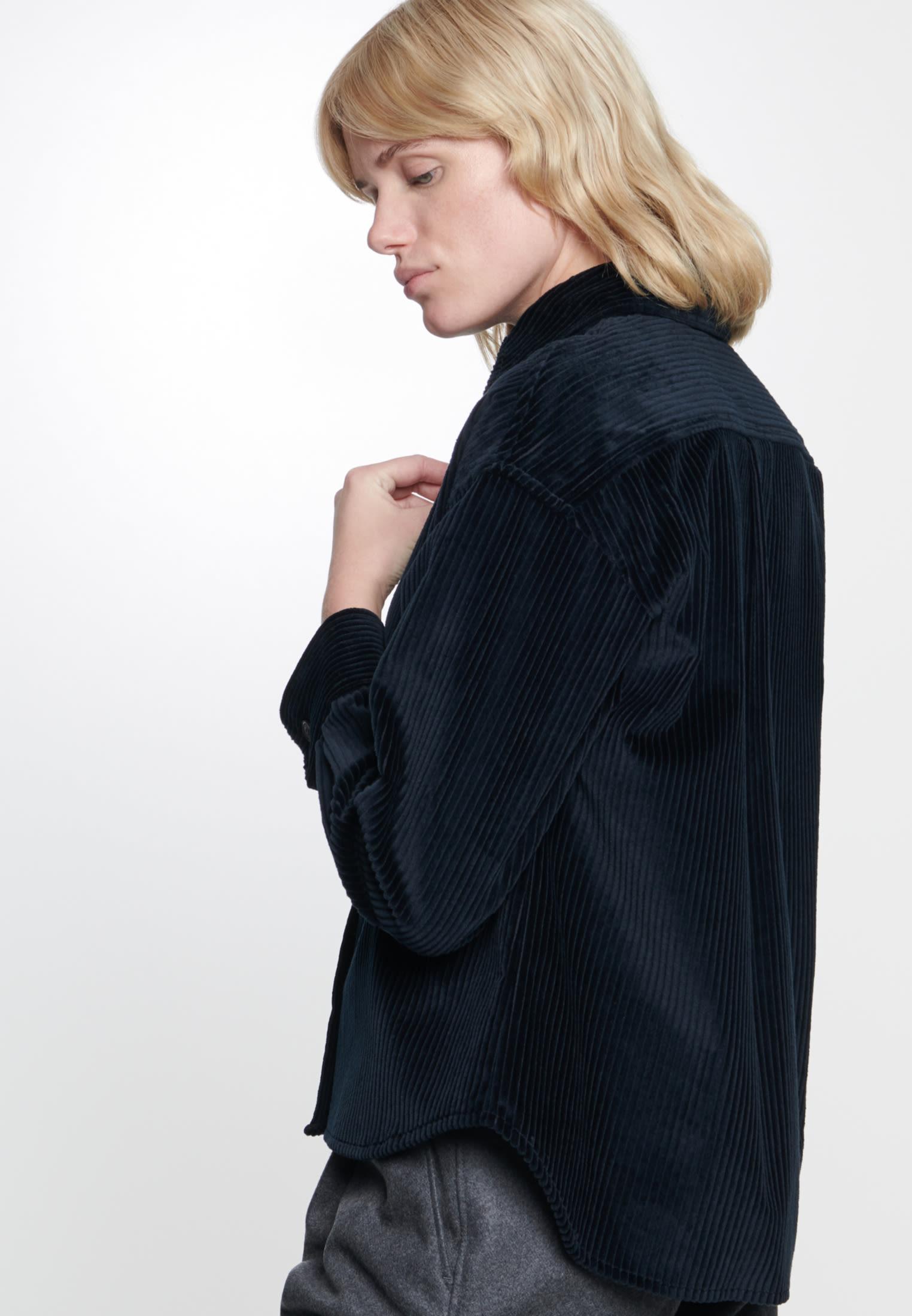 Corduroy Shirt Blouse made of 100% Cotton in Dark blue |  Seidensticker Onlineshop
