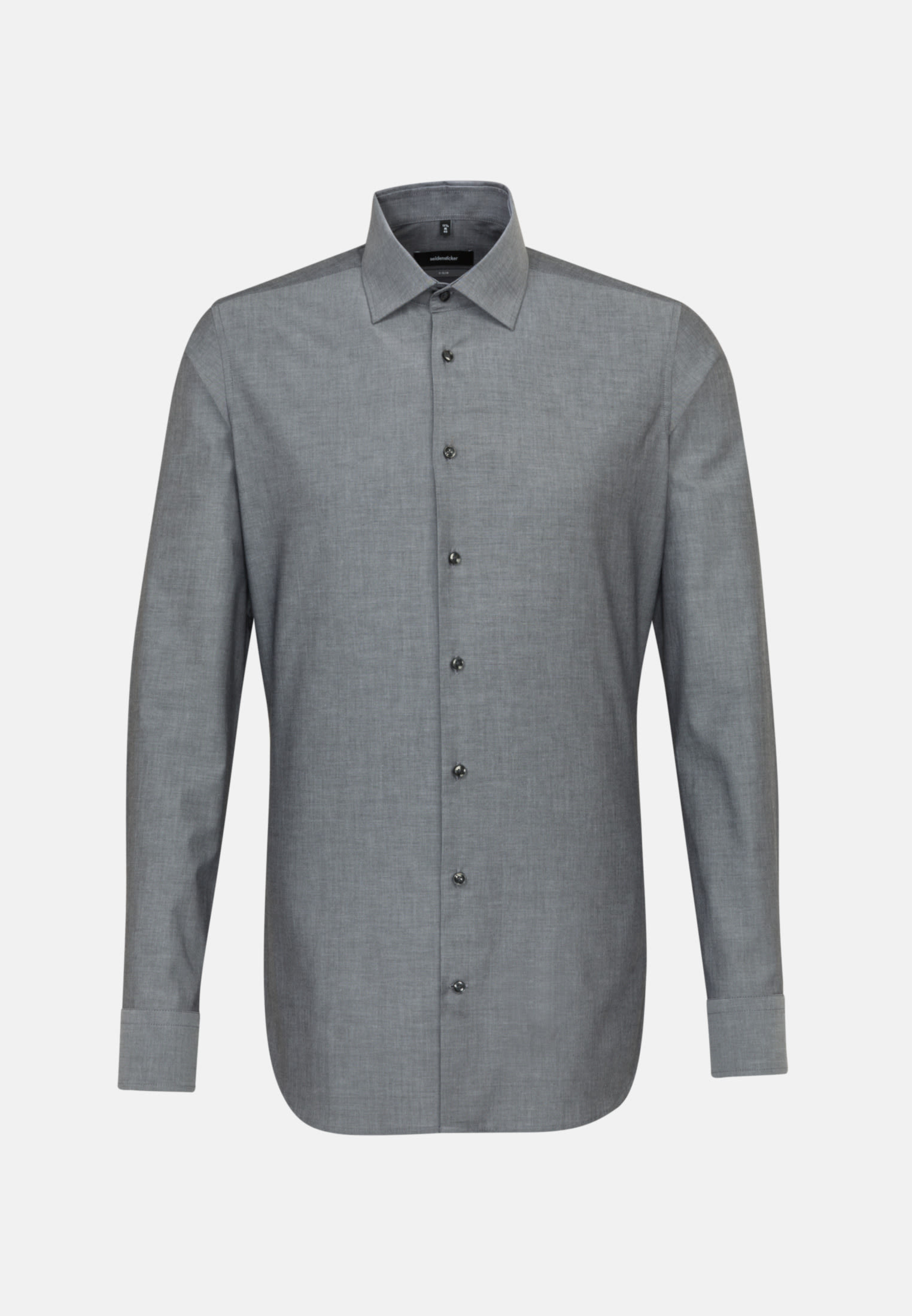 Non-iron Chambray Business Shirt in X-Slim with Kent-Collar and extra long sleeve in Grey |  Seidensticker Onlineshop