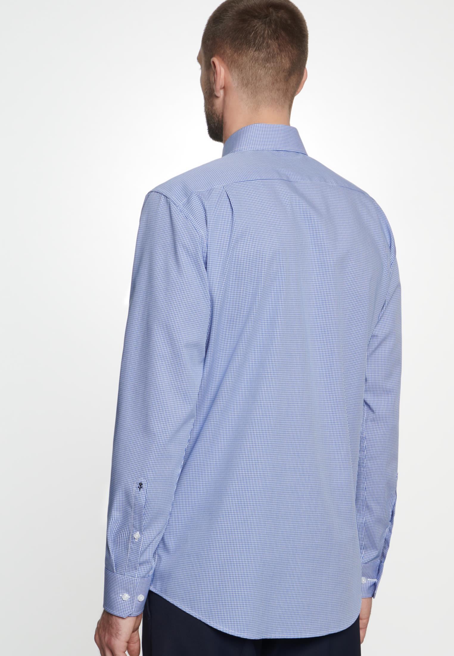 Non-iron Poplin Business Shirt in Regular with Kent-Collar in Medium blue |  Seidensticker Onlineshop
