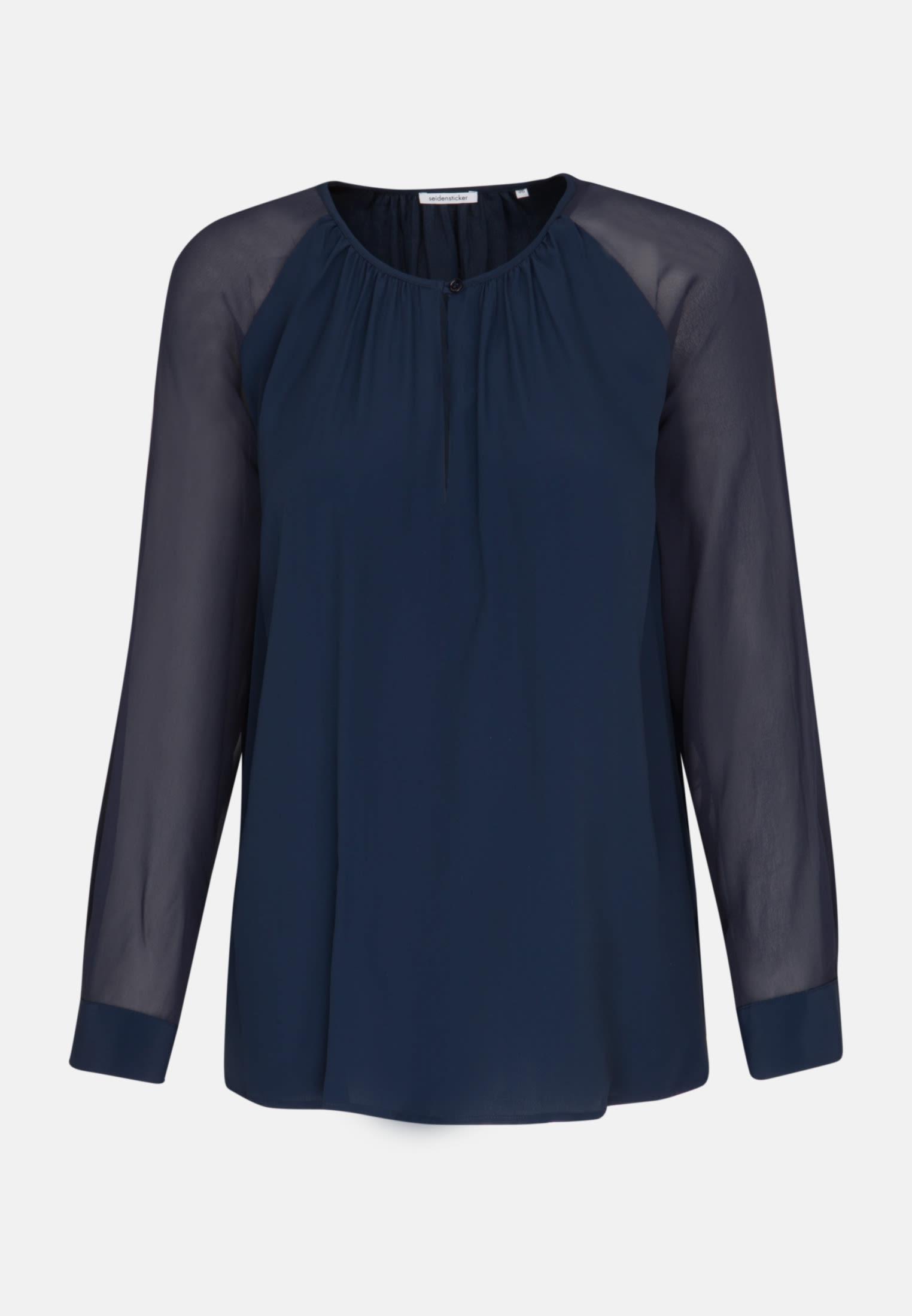 Crepe Shirt Blouse made of silk blend in Dark blue |  Seidensticker Onlineshop
