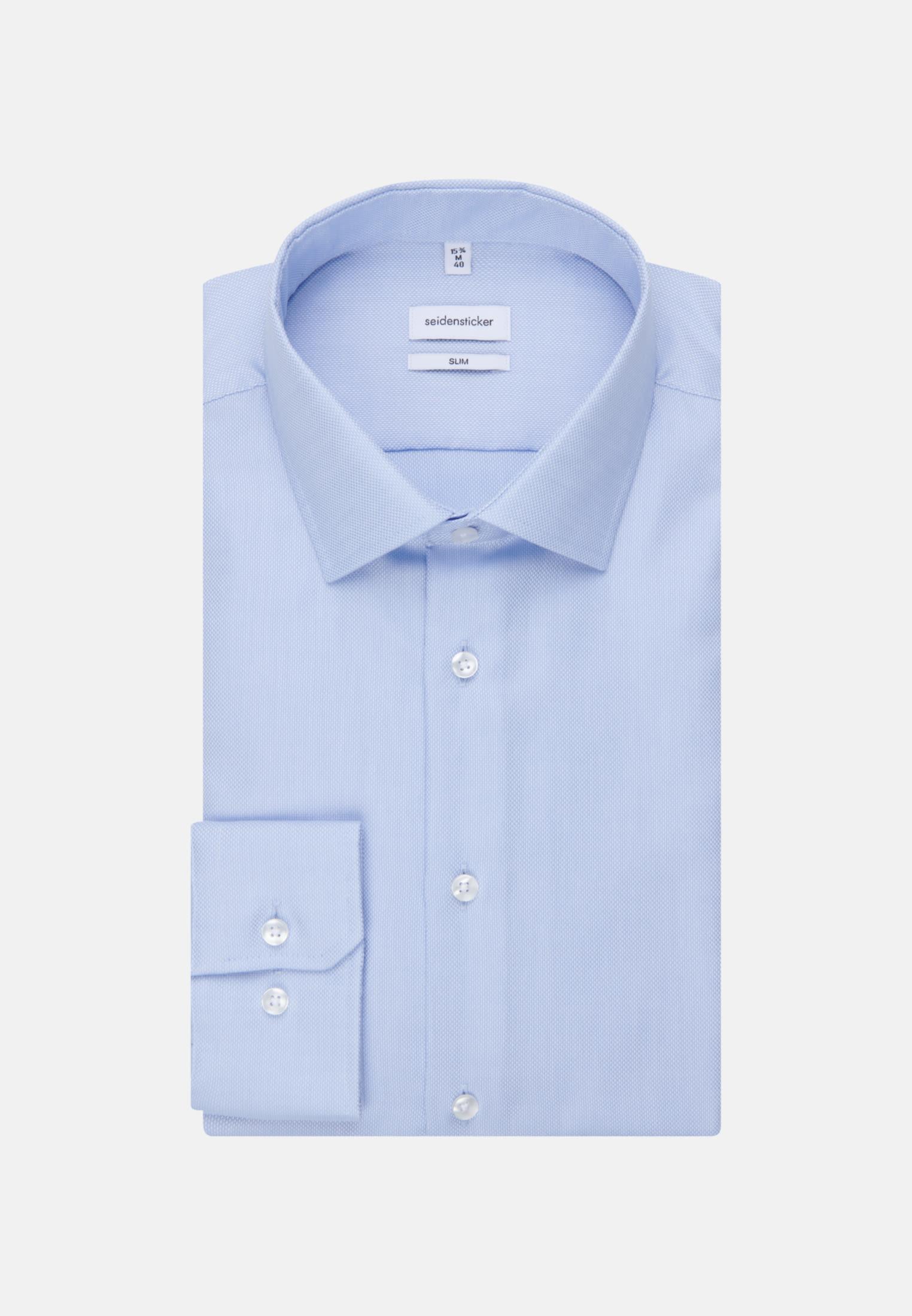 Bügelfreies Struktur Business Hemd in Slim mit Kentkragen in Hellblau    Seidensticker Onlineshop