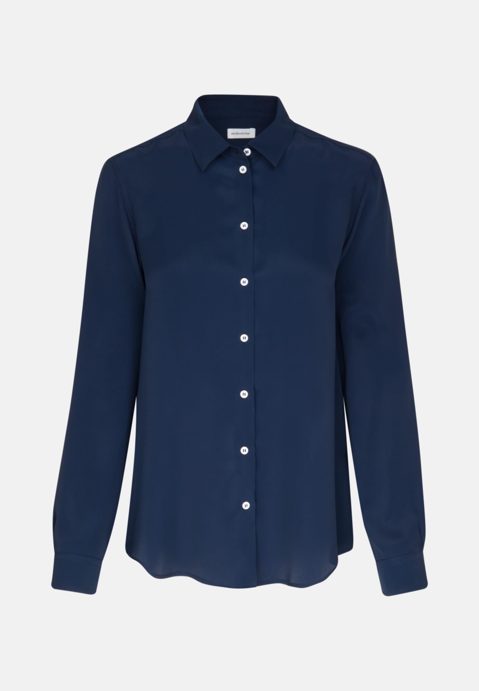 Crepe Shirt Blouse made of 76% Acetat 24% Silk in Dark blue |  Seidensticker Onlineshop