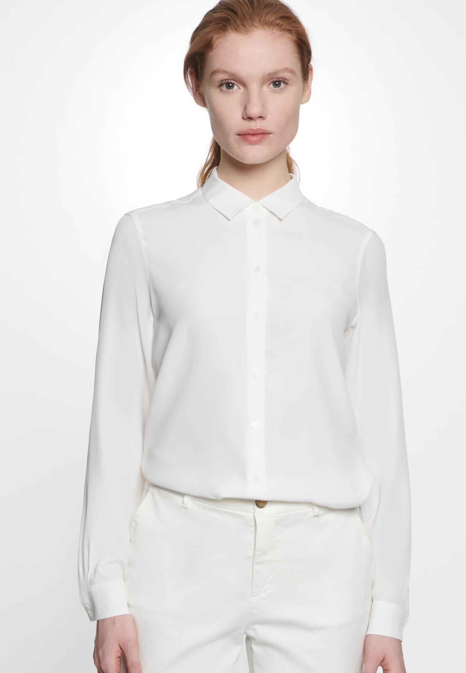 Crepe Shirt Blouse made of 76% Acetat 24% Silk in Ecru |  Seidensticker Onlineshop