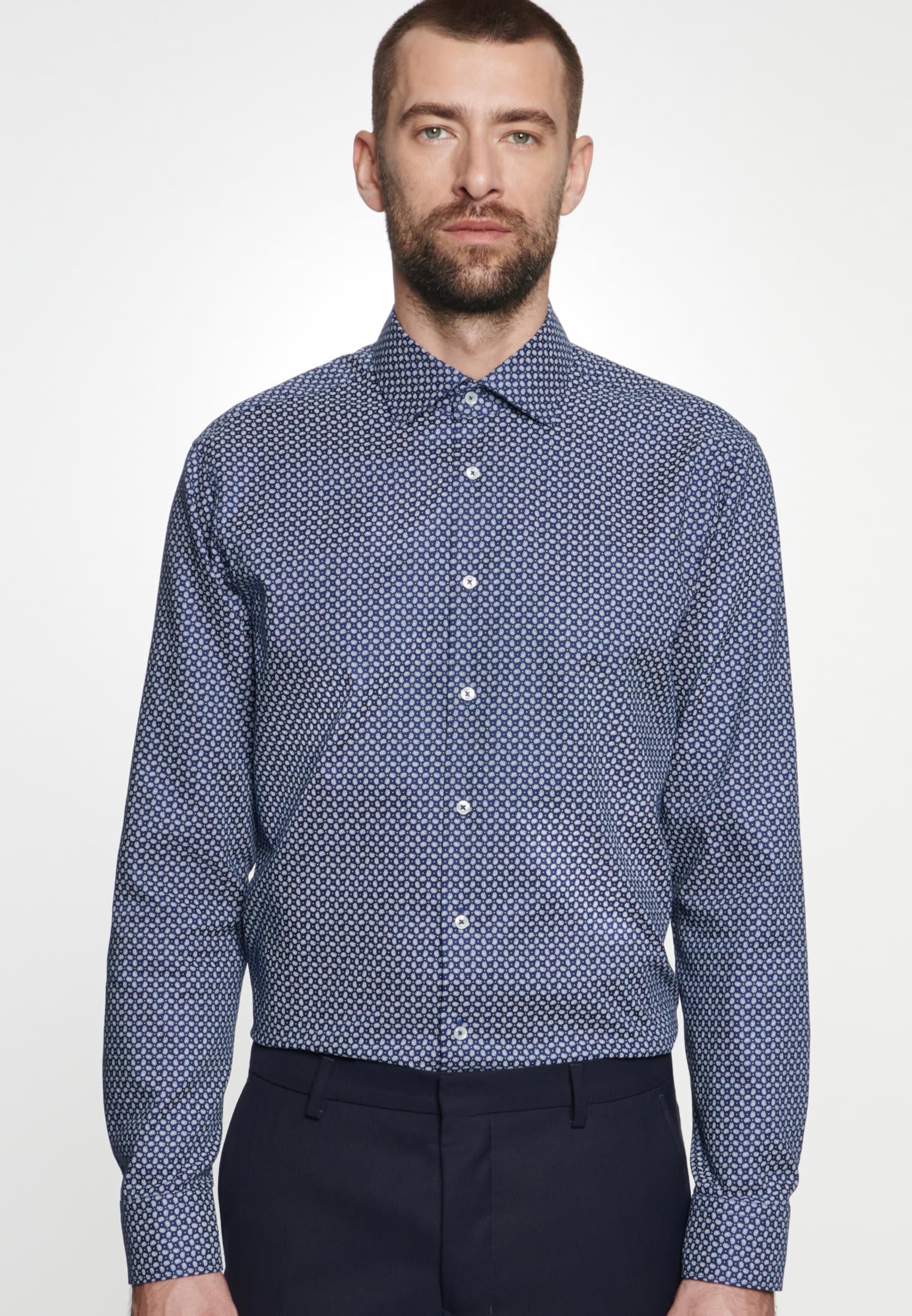 Bügelleichtes Struktur Business Hemd in Slim mit Kentkragen in Mittelblau |  Seidensticker Onlineshop