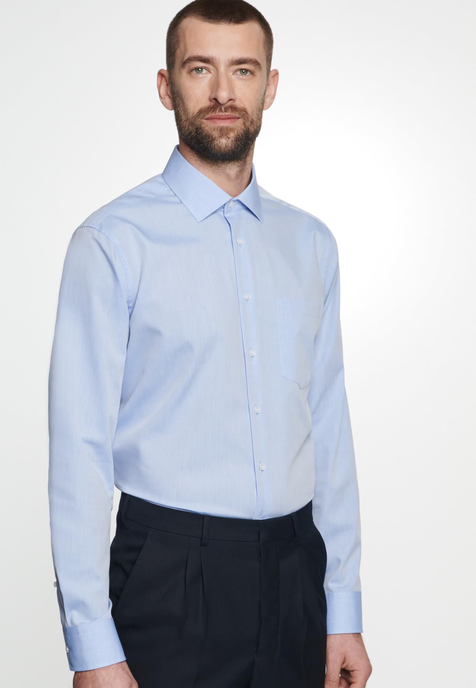 Bügelfreies Chambray Business Hemd in Regular mit Kentkragen in Hellblau |  Seidensticker Onlineshop