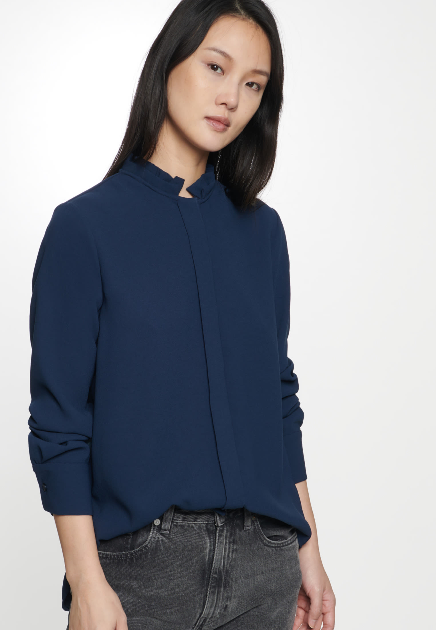 Poplin Stand-Up Blouse made of 100% Polyester in Dark blue |  Seidensticker Onlineshop