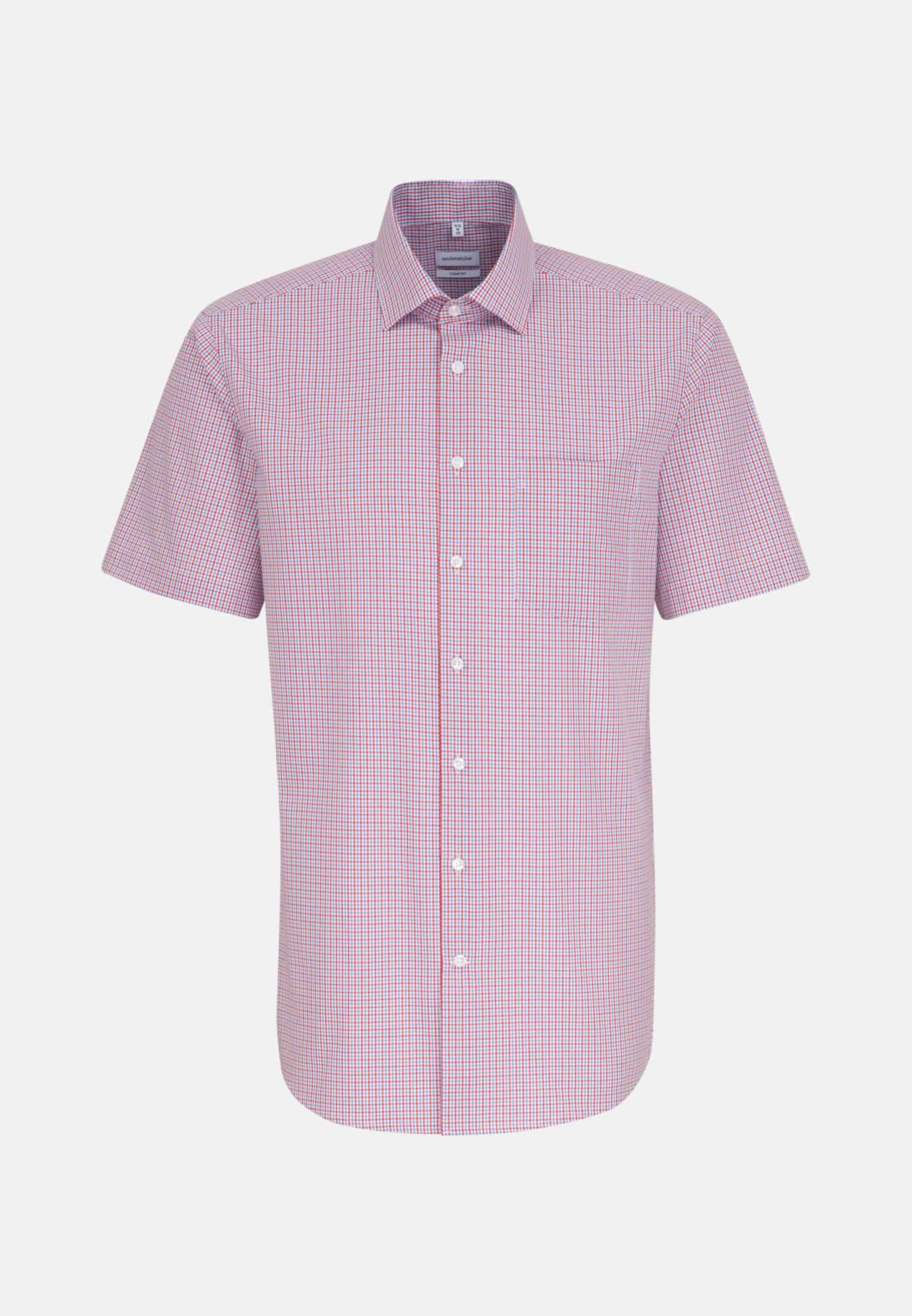 Bügelfreies Popeline Kurzarm Business Hemd in Comfort mit Kentkragen in Rot    Seidensticker Onlineshop