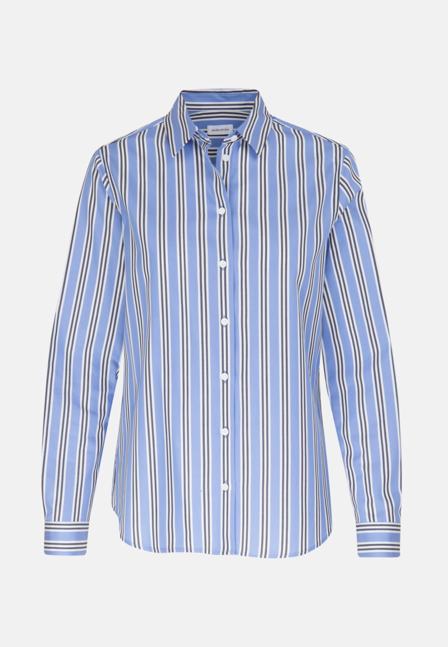 Twill Shirt Blouse made of 100% Cotton in Medium blue |  Seidensticker Onlineshop
