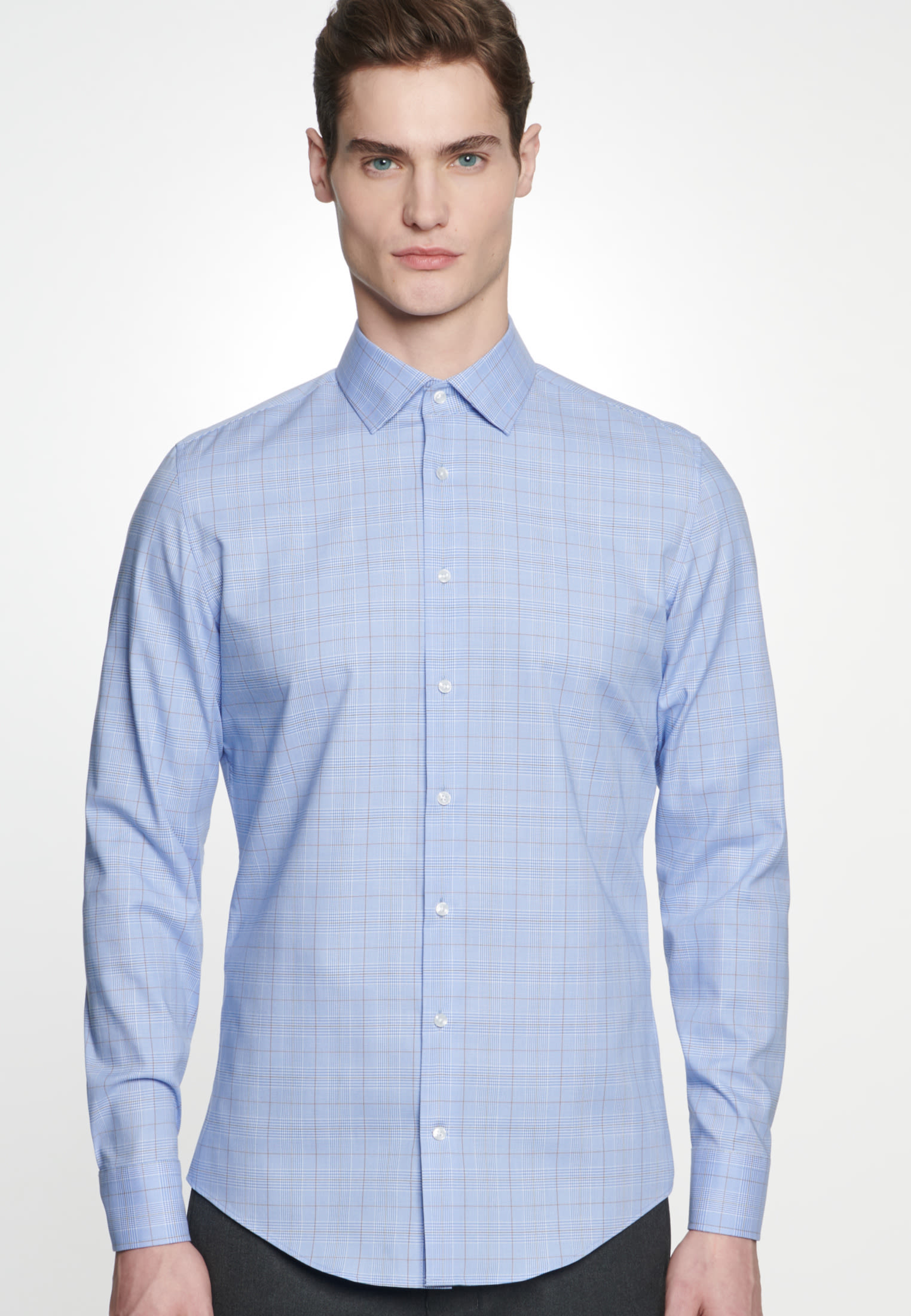 Bügelleichtes Glencheck Business Hemd in Slim mit Kentkragen in Braun |  Seidensticker Onlineshop