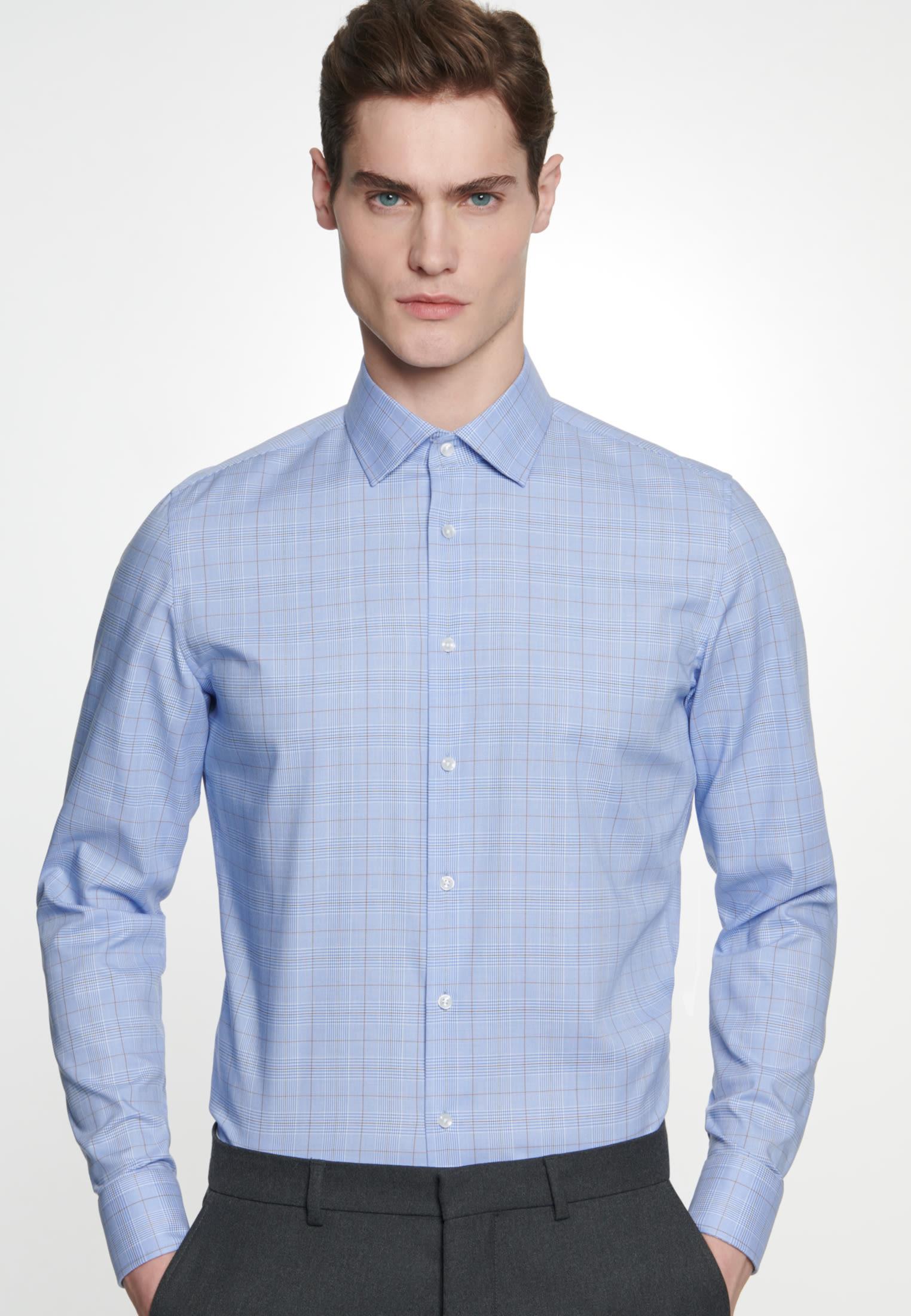 Bügelleichtes Glencheck Business Hemd in Slim mit Kentkragen in Hellblau |  Seidensticker Onlineshop